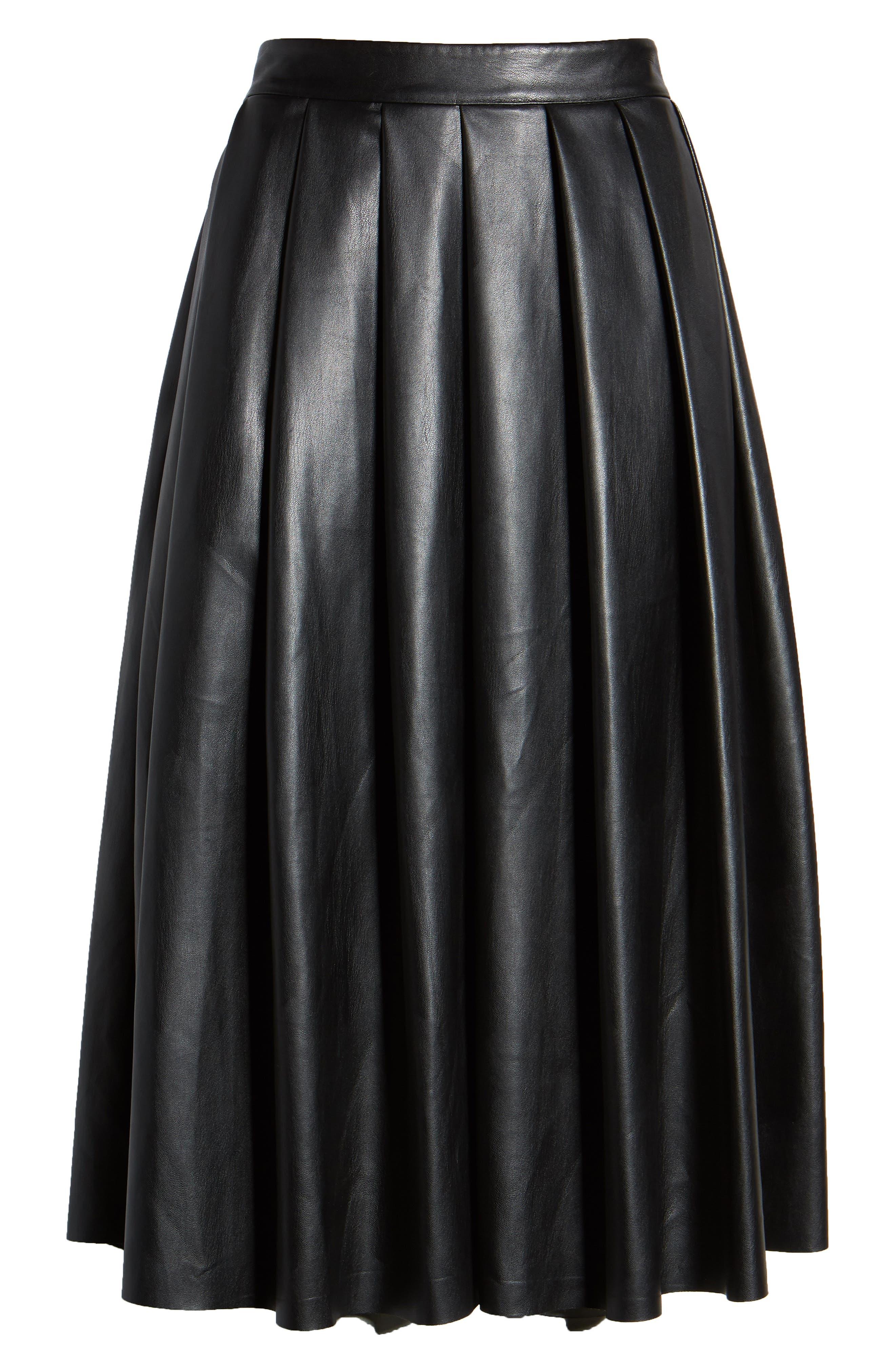 Hudson Faux Leather Midi Skirt,                             Alternate thumbnail 6, color,                             BLACK