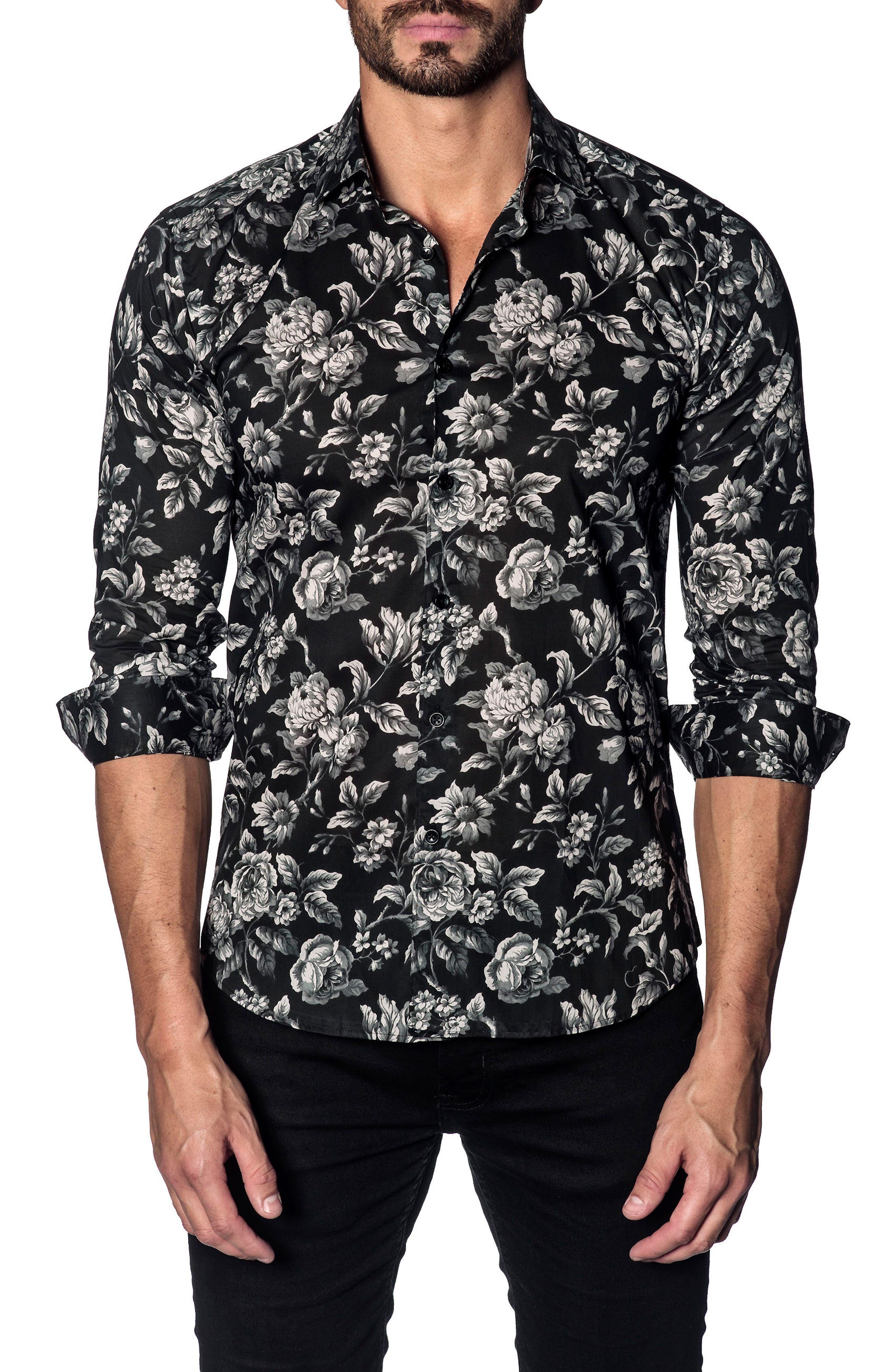 Trim Fit Sport Shirt,                         Main,                         color, BLACK GREY FLORAL PRINT