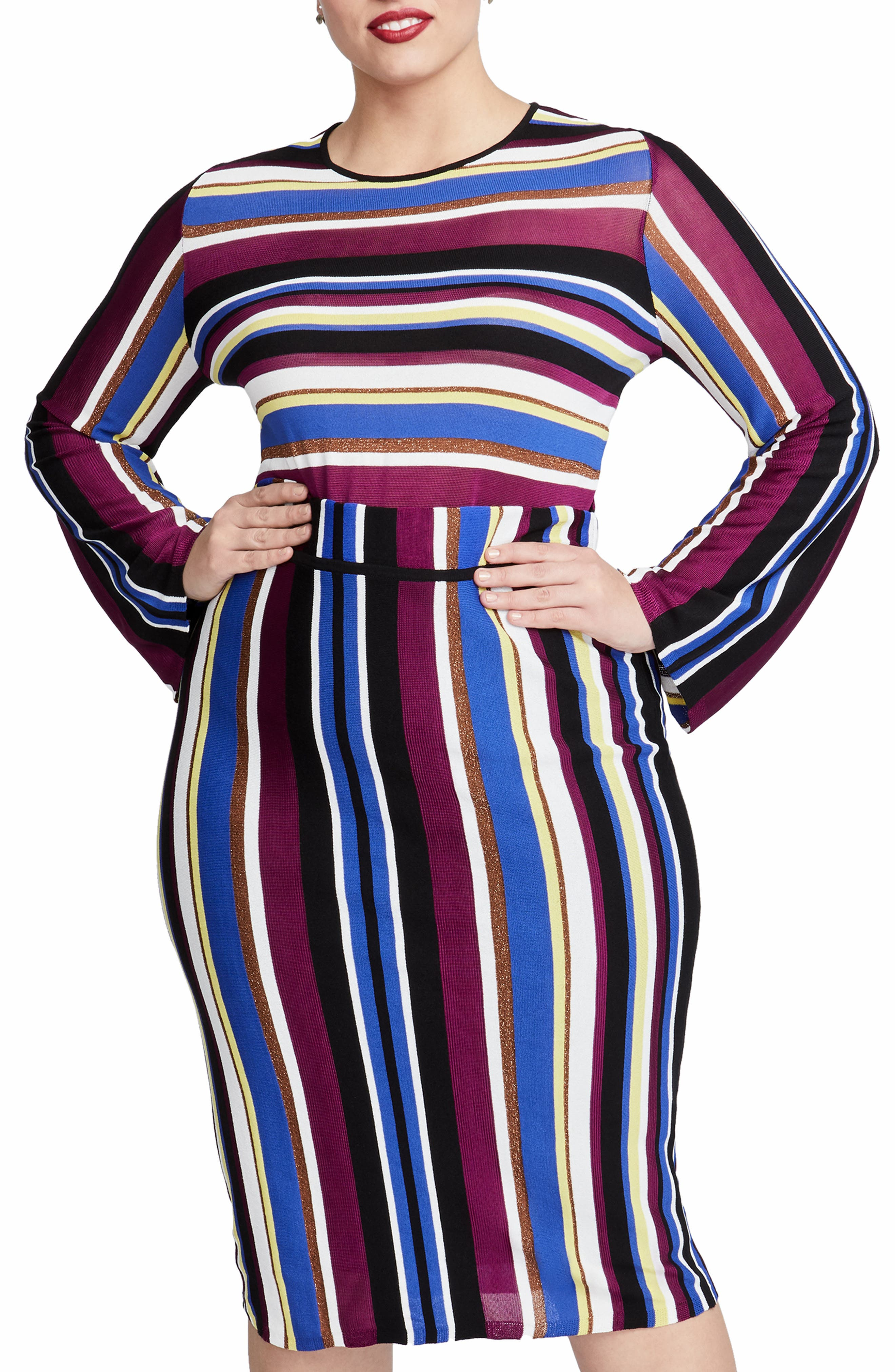 Royal Metallic Stripe Crop Sweater,                         Main,                         color, VICTORIAN VIOLET STRIPE