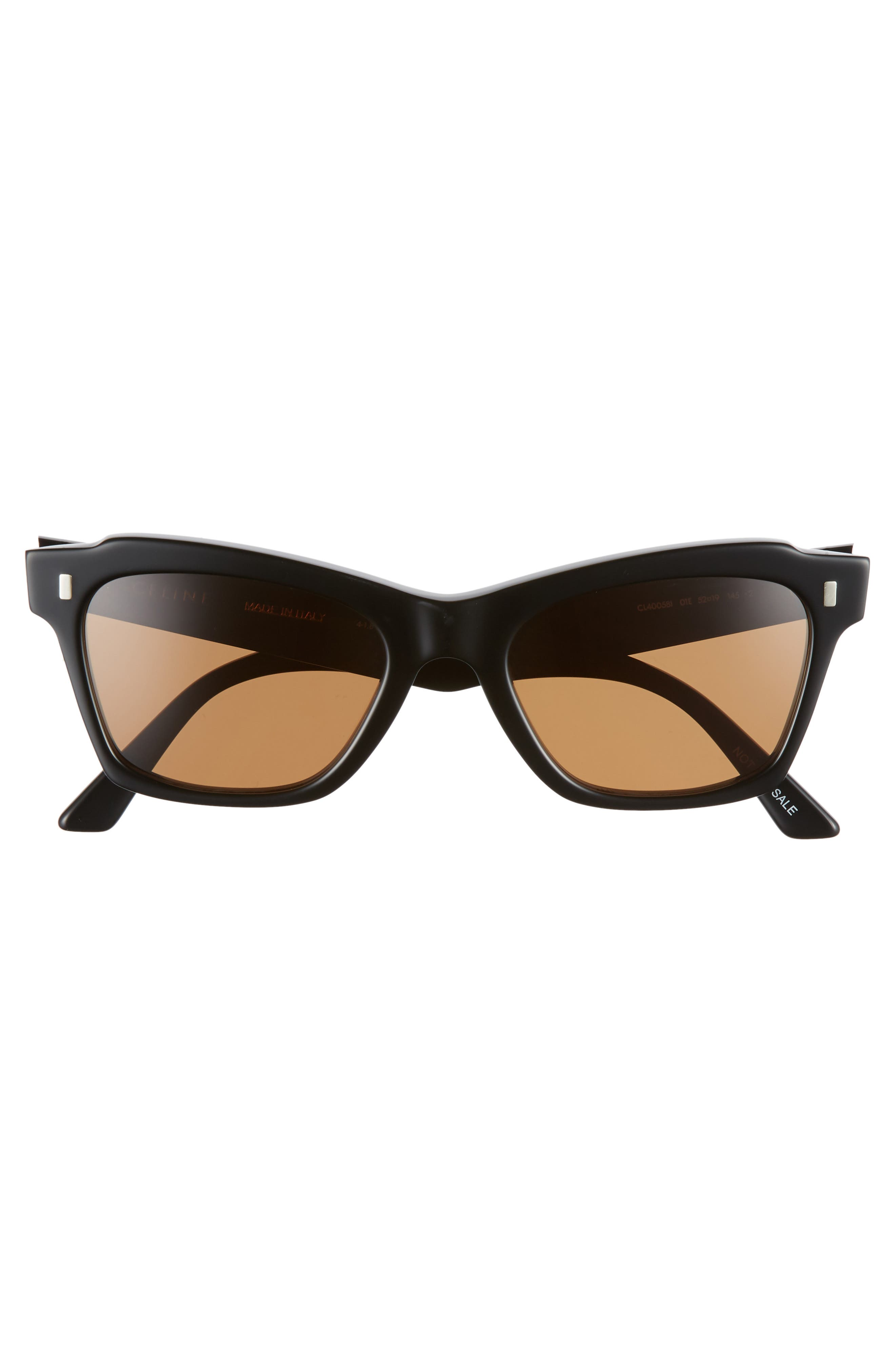 52mm Rectangle Cat Eye Sunglasses,                             Alternate thumbnail 3, color,                             BLACK