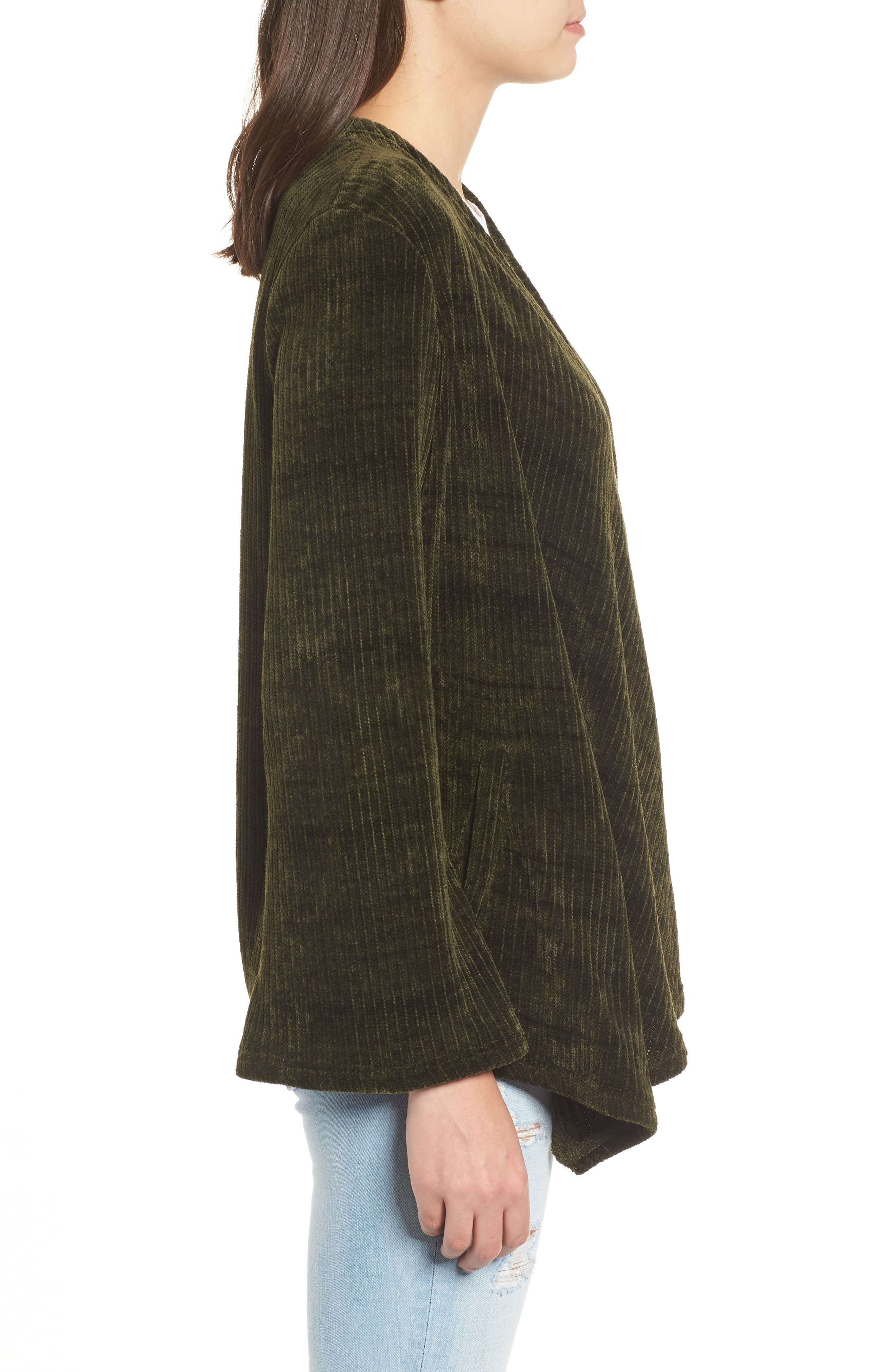 Chenille of Fortune Jacket,                             Alternate thumbnail 3, color,                             DARK GREEN