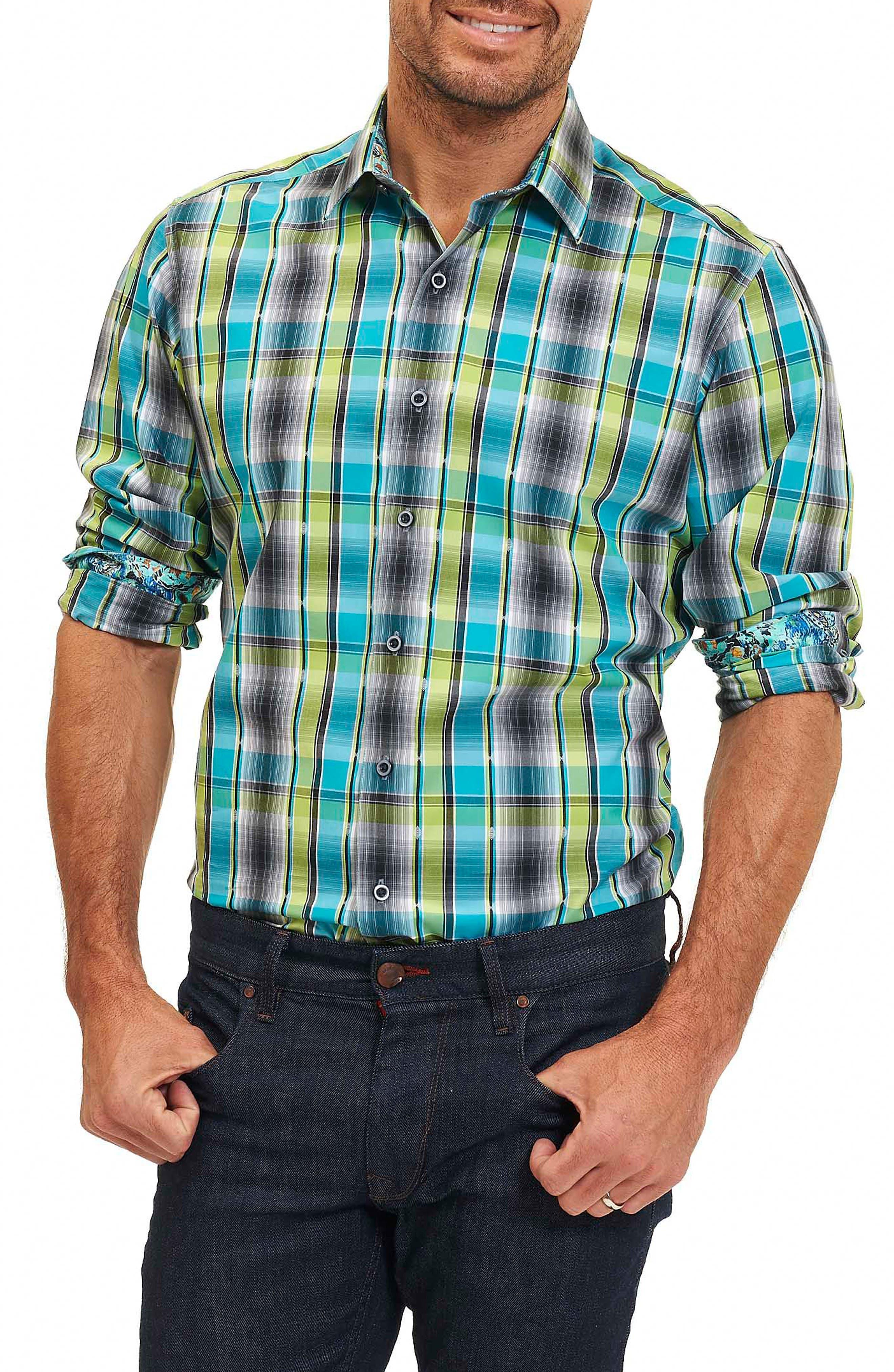 Hiran Plaid Sport Shirt,                             Main thumbnail 1, color,                             323
