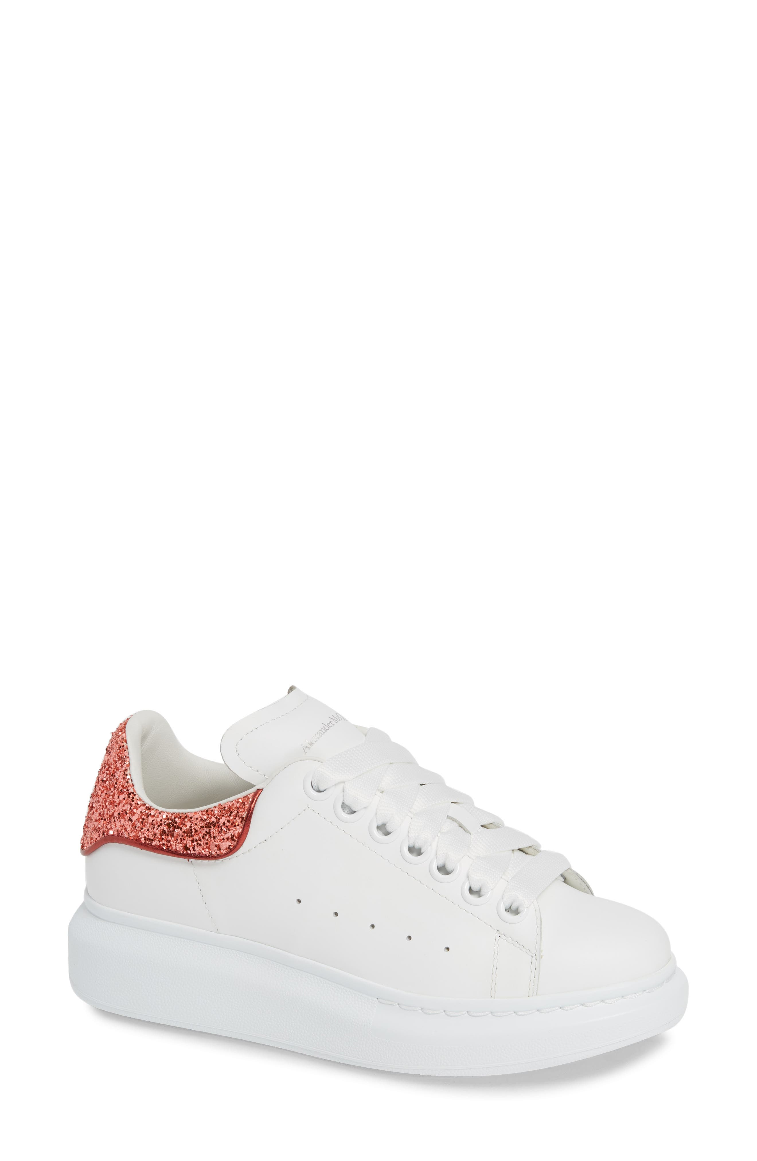 Sneaker,                             Main thumbnail 1, color,                             CORAL GLITTER/ WHITE