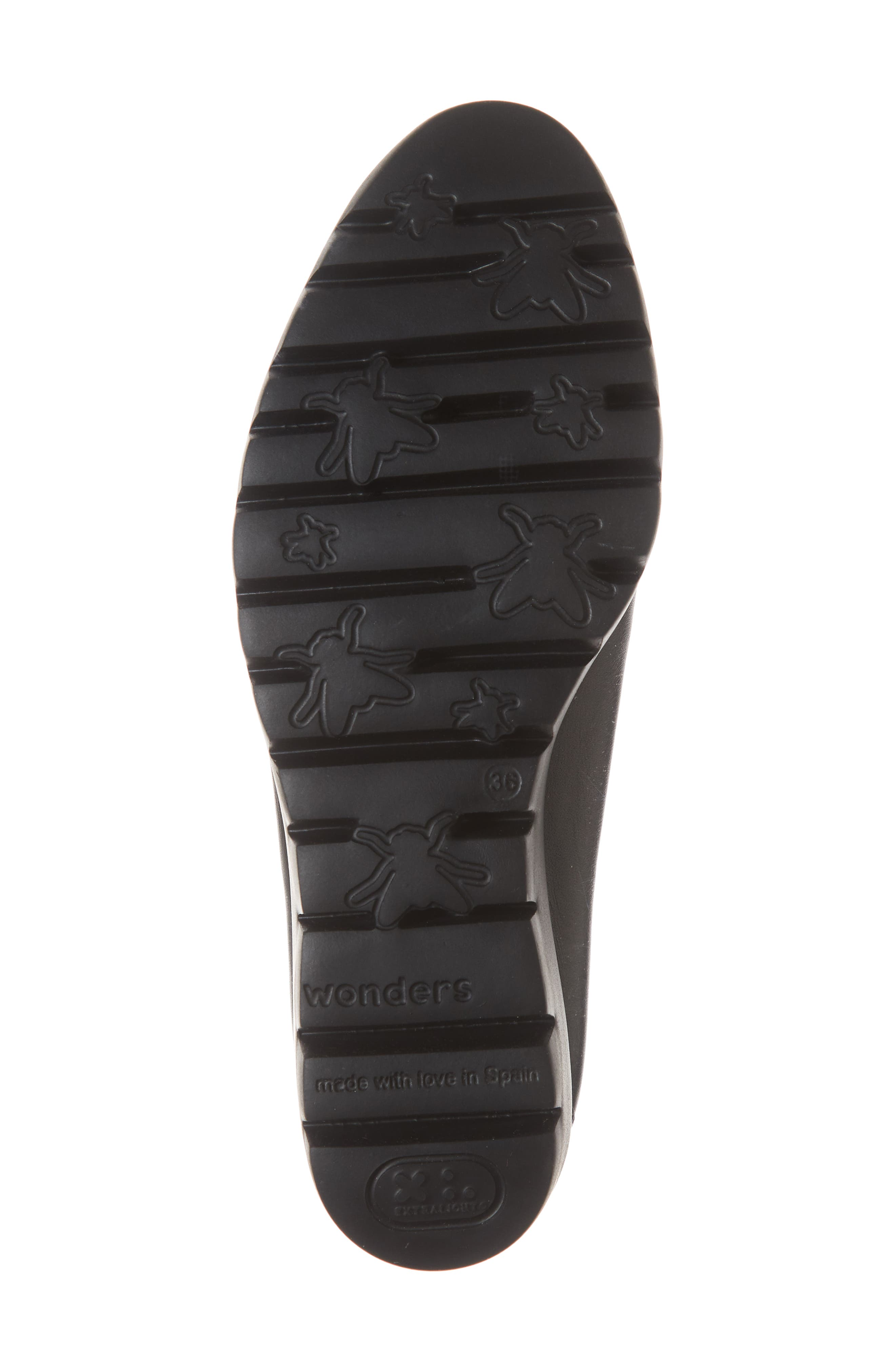 Extralite Wedge Pump,                             Alternate thumbnail 6, color,                             BLACK LEATHER