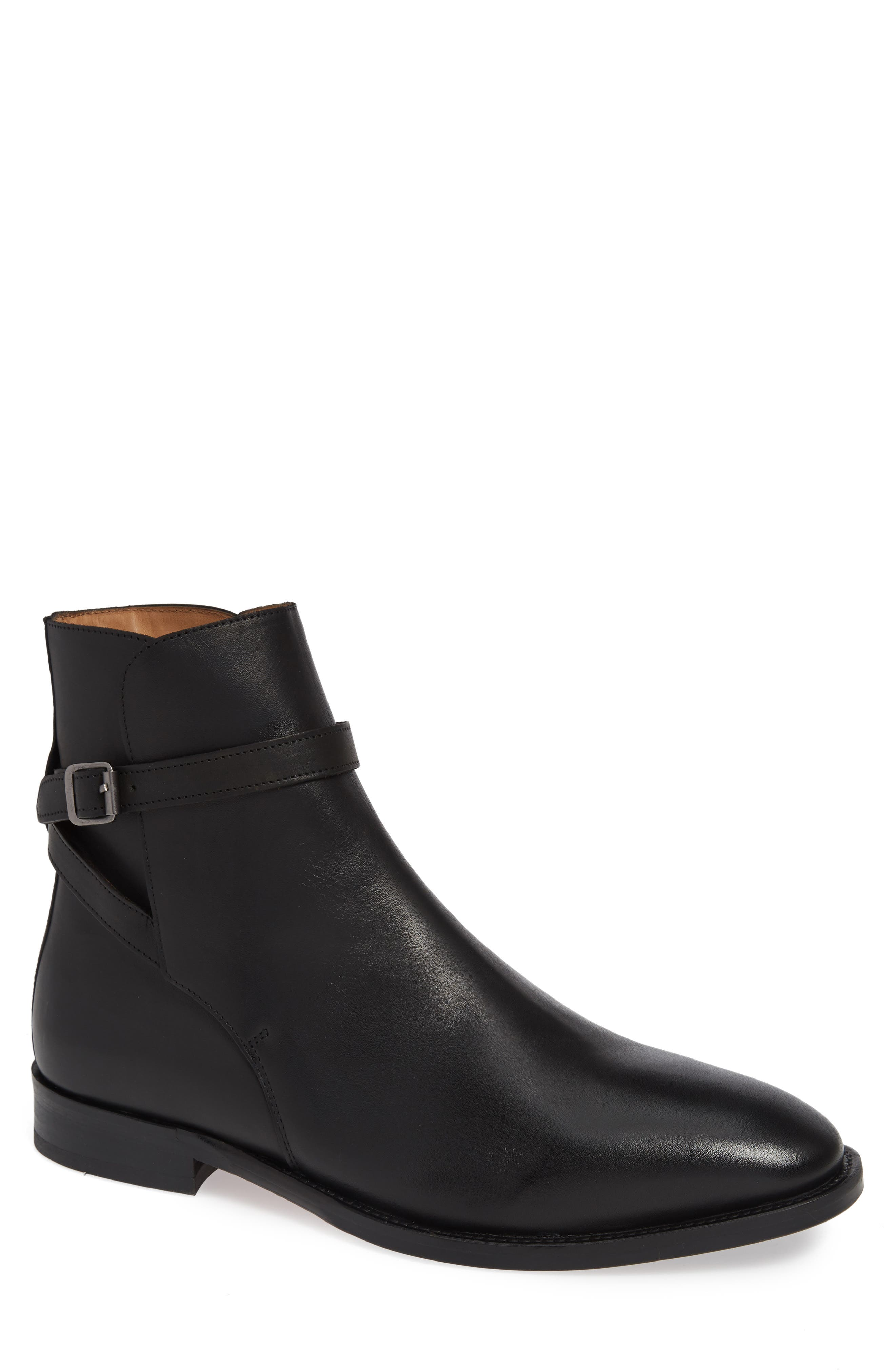 Hop Buckle Strap Boot, Main, color, BLACK LEATHER