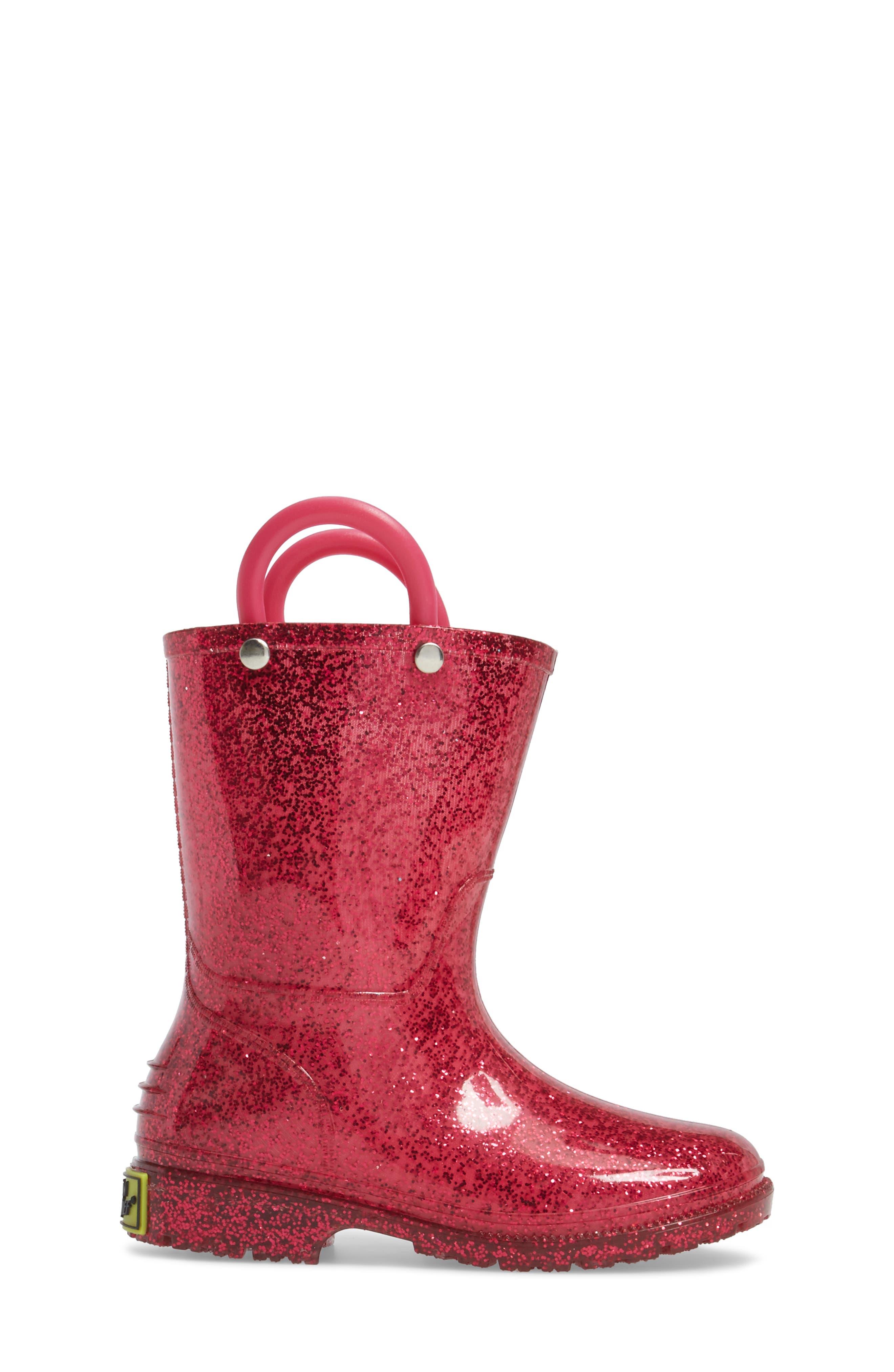 Glitter Waterproof Rain Boot,                             Alternate thumbnail 3, color,                             PINK