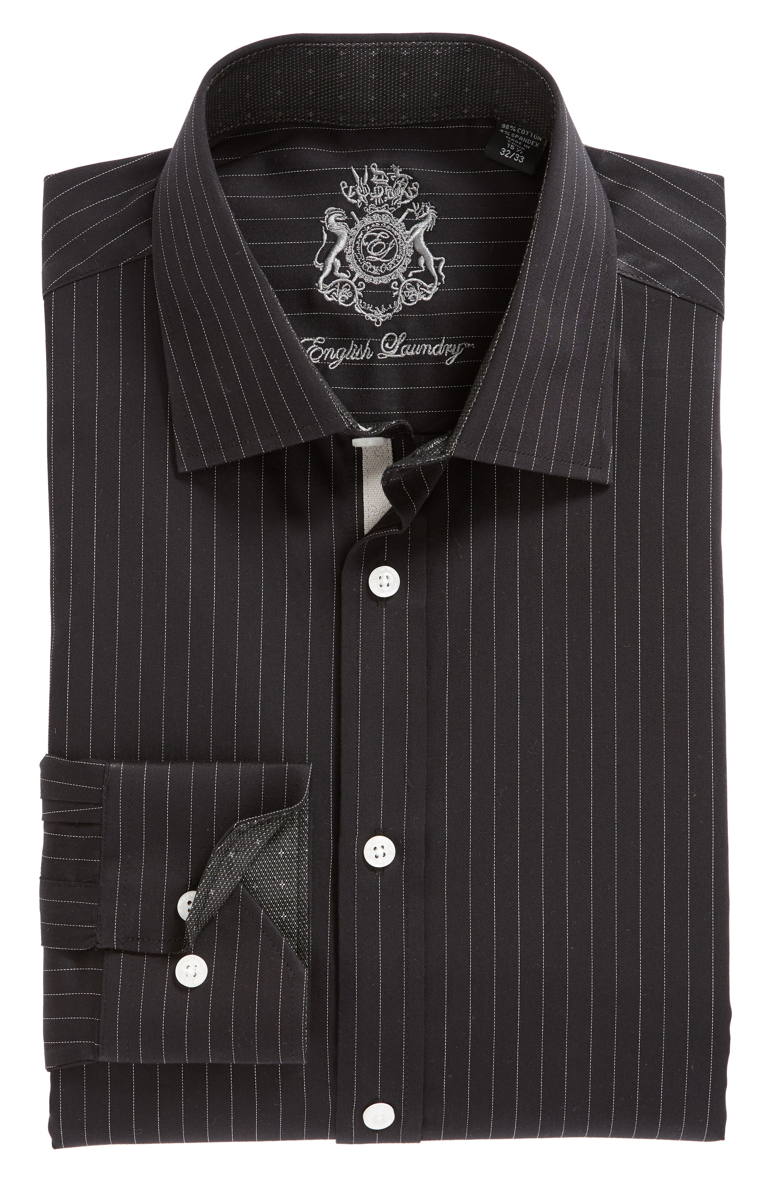 Regular Fit Stretch Stripe Dress Shirt,                             Alternate thumbnail 5, color,                             BLACK
