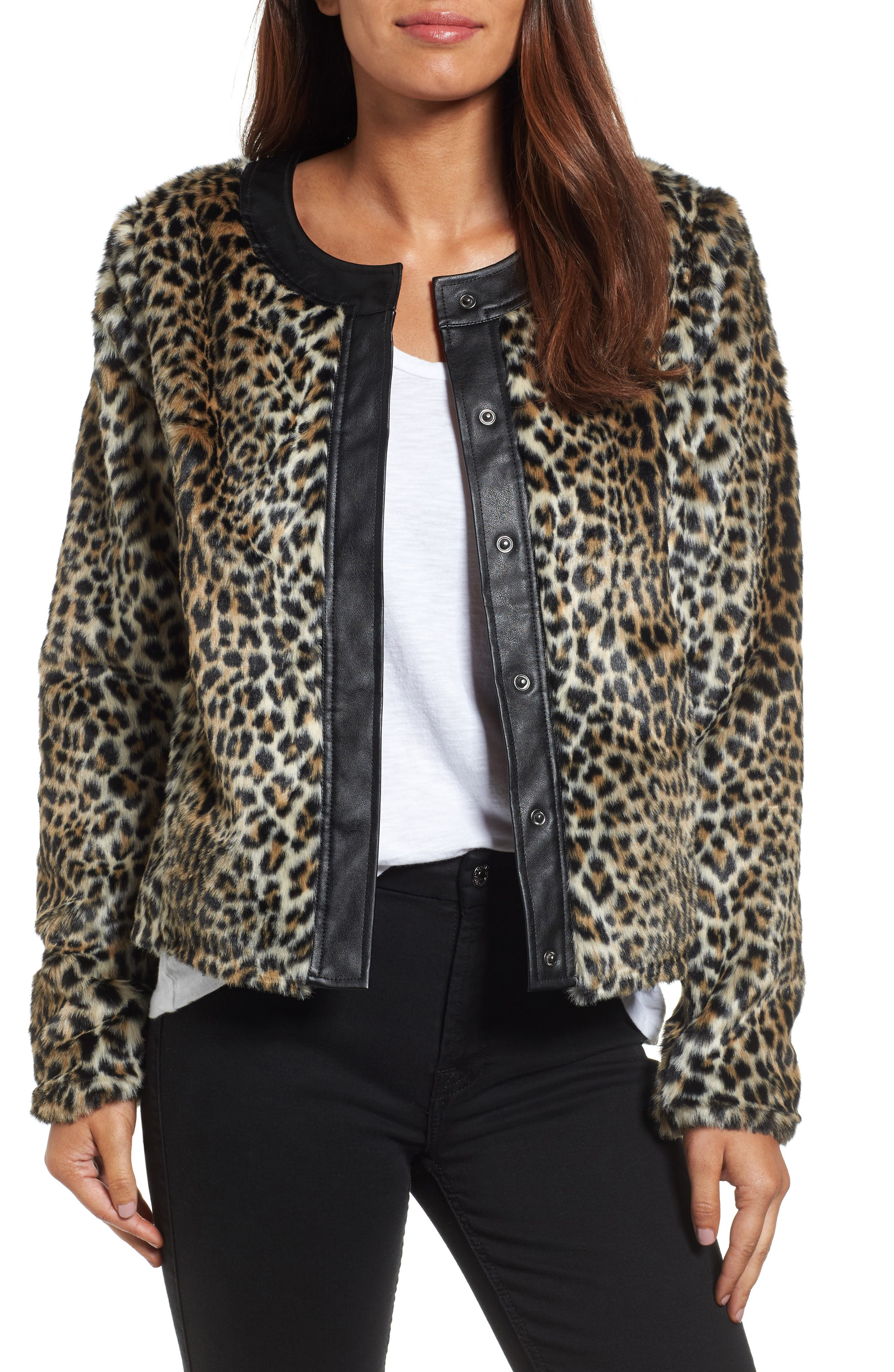 Courtney Faux Leopard Fur Jacket,                             Main thumbnail 1, color,                             209