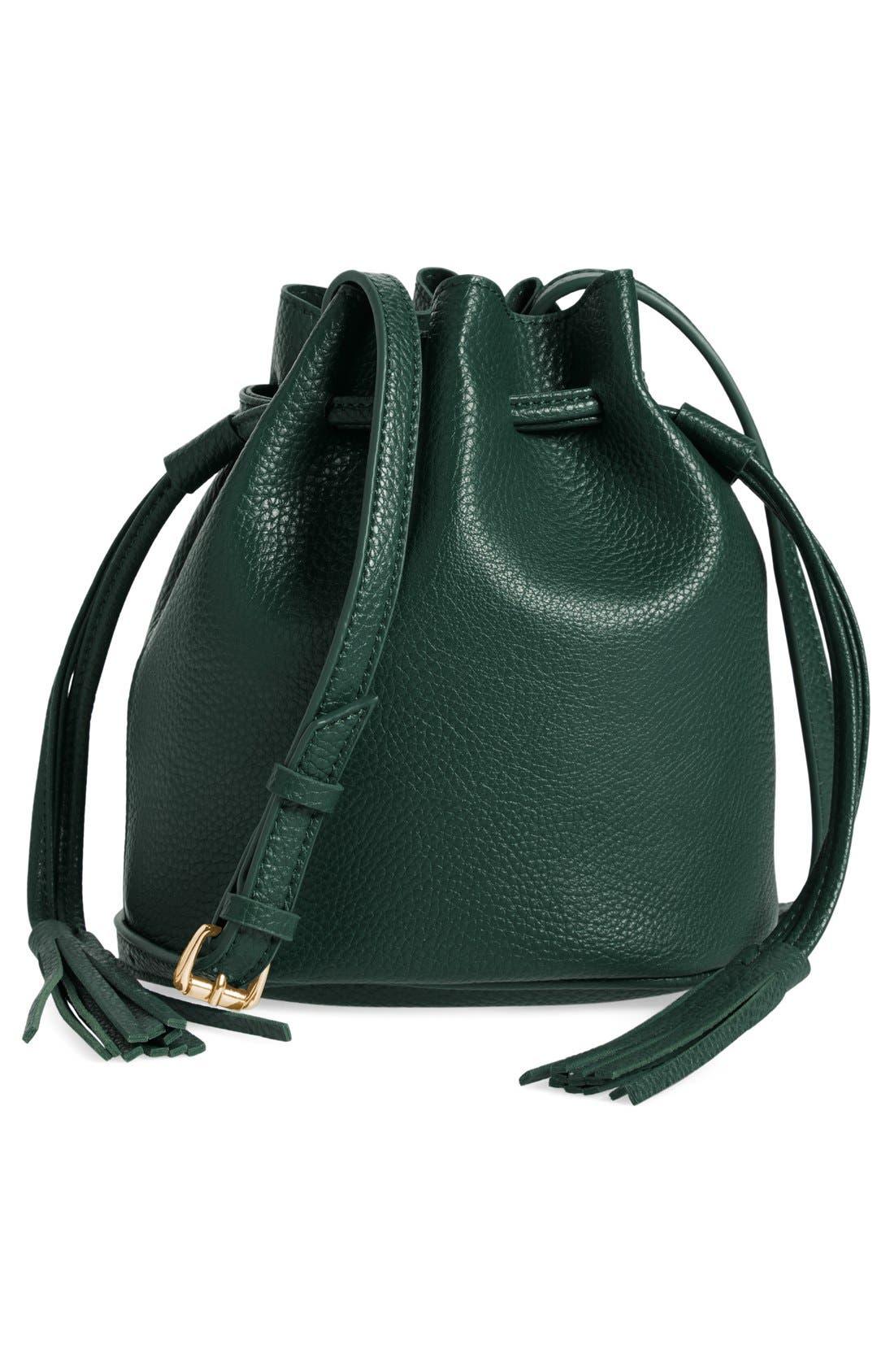Mini Faux Leather Tassel Bucket Bag,                             Main thumbnail 4, color,