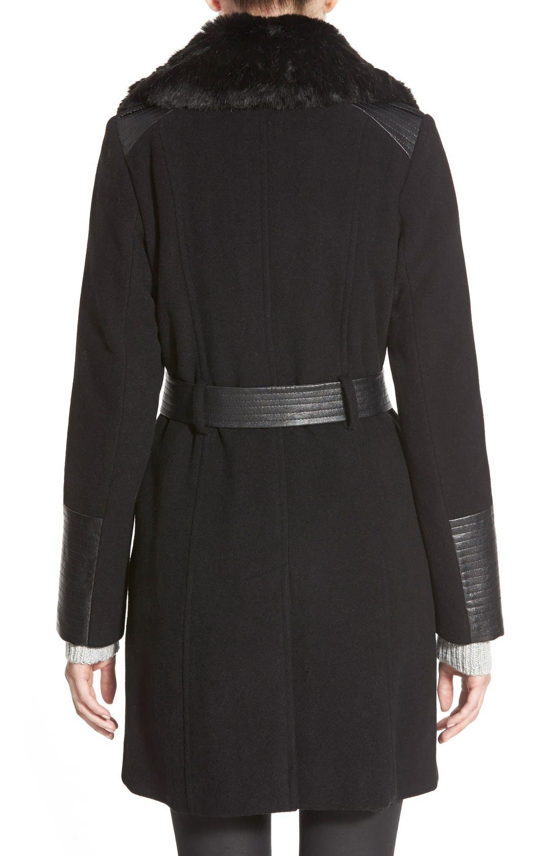 Faux Leather & Faux Fur Trim Belted Wool Blend Coat,                             Alternate thumbnail 36, color,