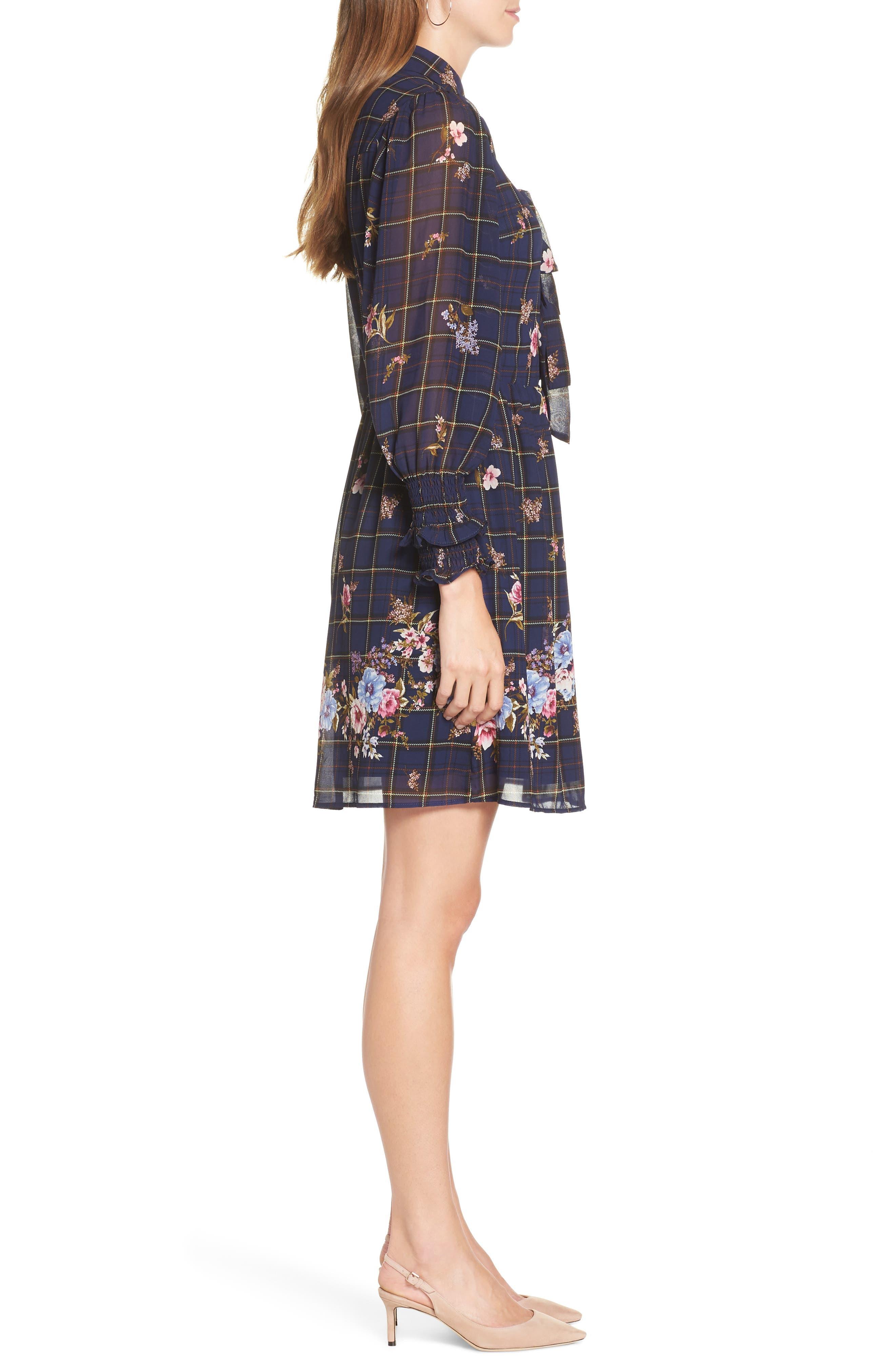 Three-Bow Long Sleeve Dress,                             Alternate thumbnail 3, color,                             NAVY PLAID FLORAL