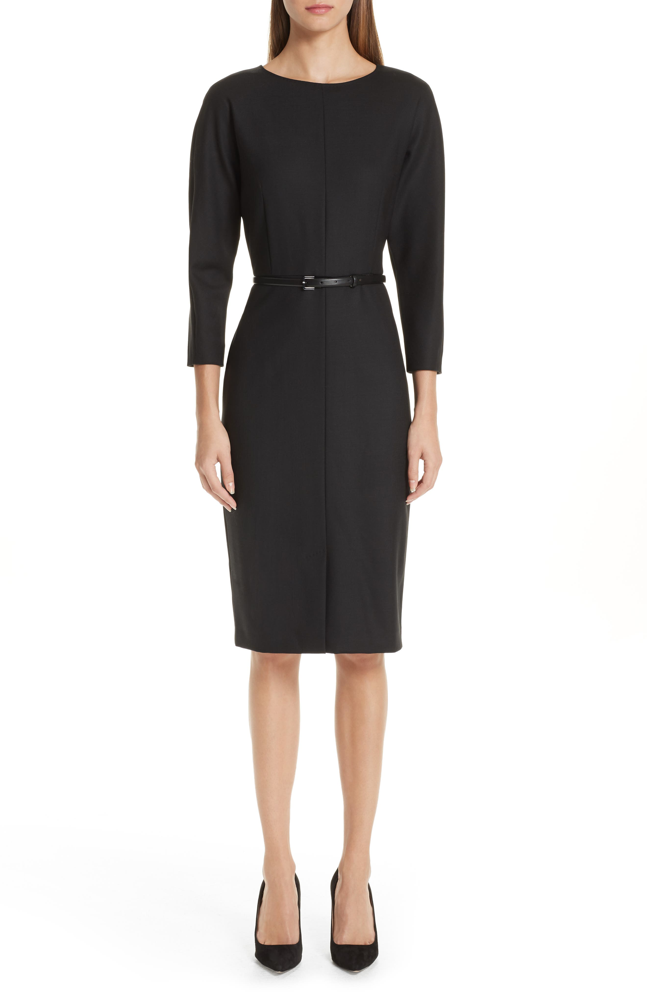 MAX MARA Karub Belted Stretch Wool Dress, Main, color, 001