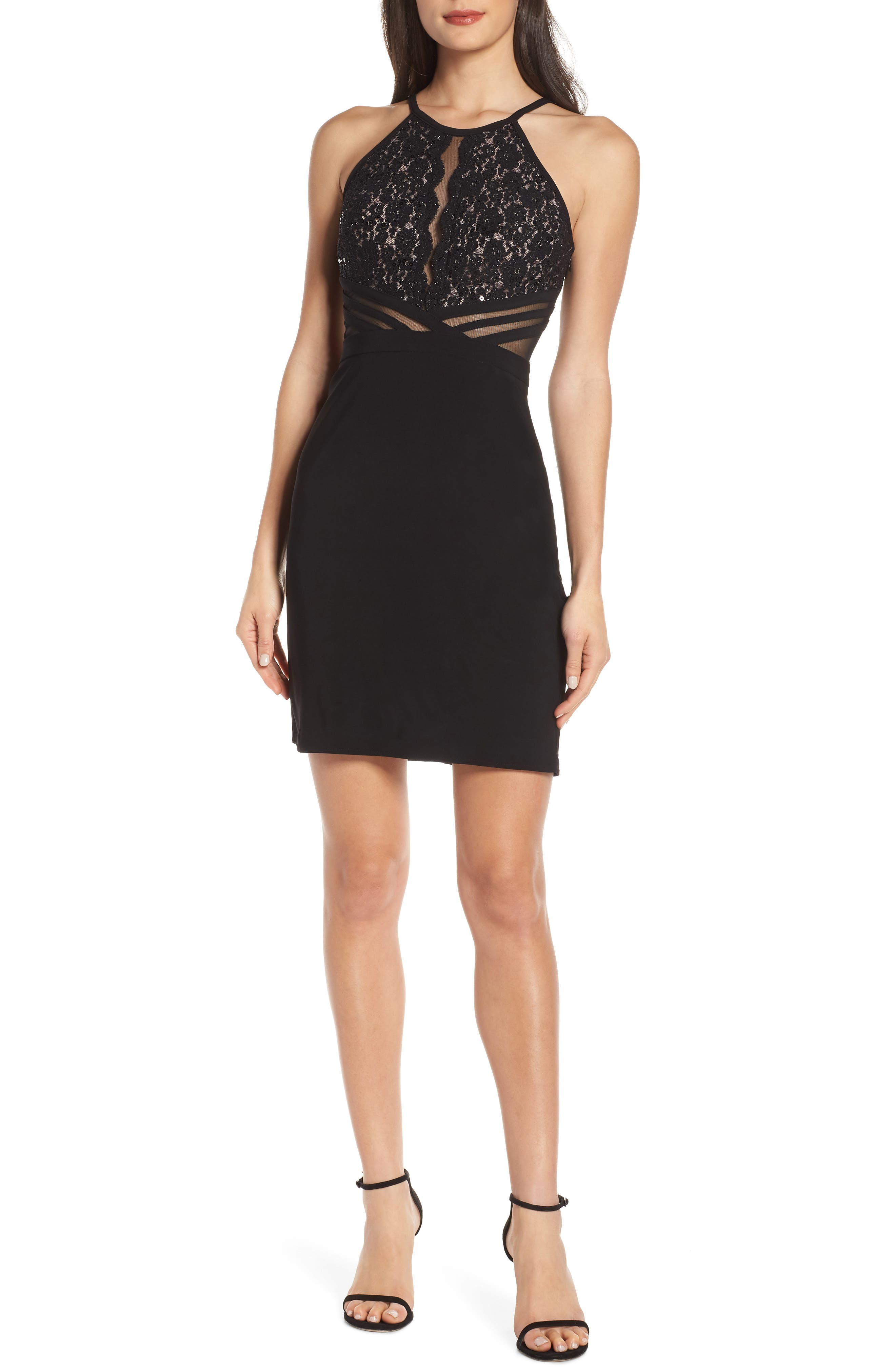 Scallop Lace Bodice Body-Con Dress,                         Main,                         color, BLACK/ NUDE