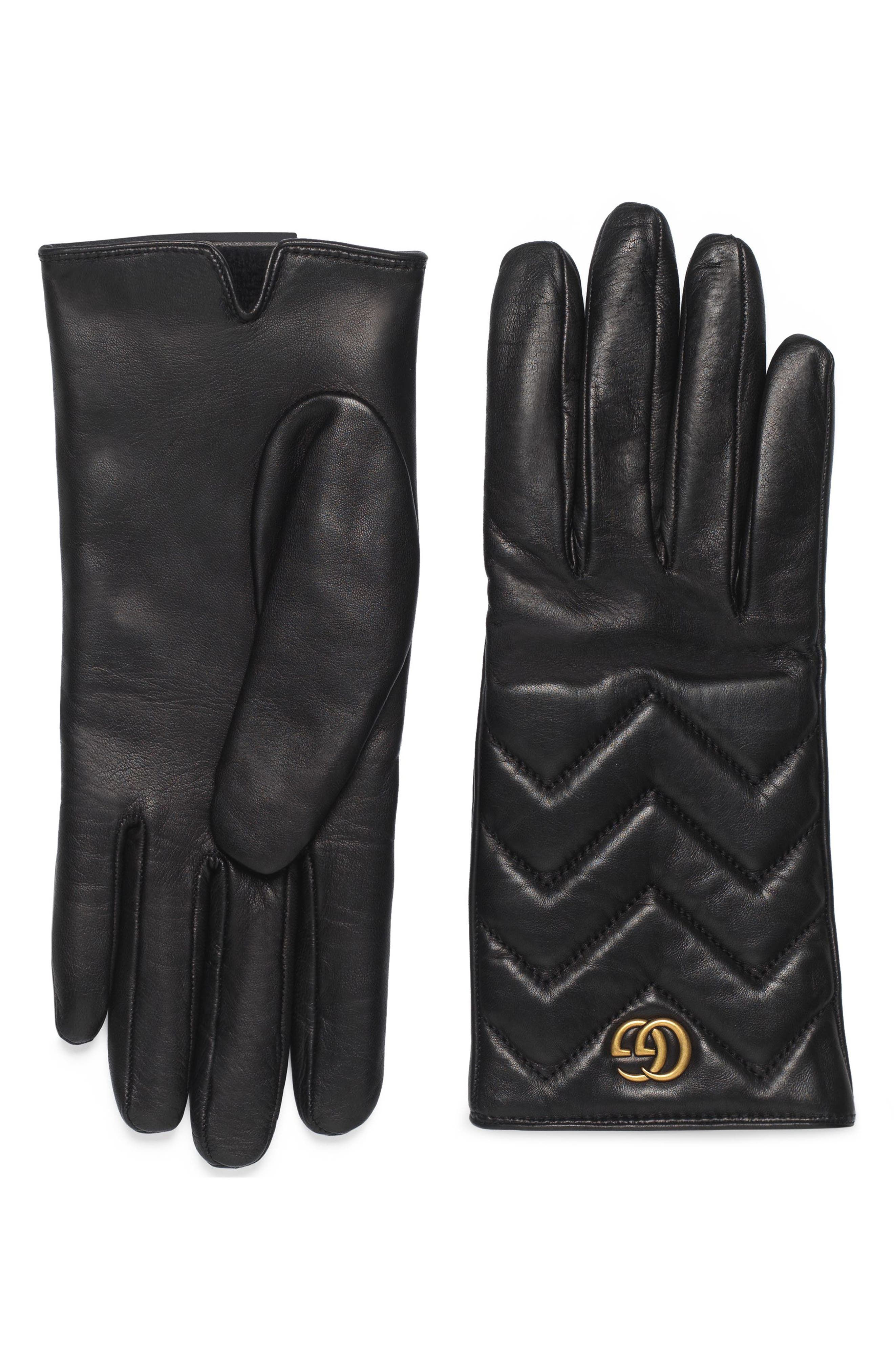 GG Marmont Cashmere Lined Leather Gloves,                             Main thumbnail 1, color,                             NERO