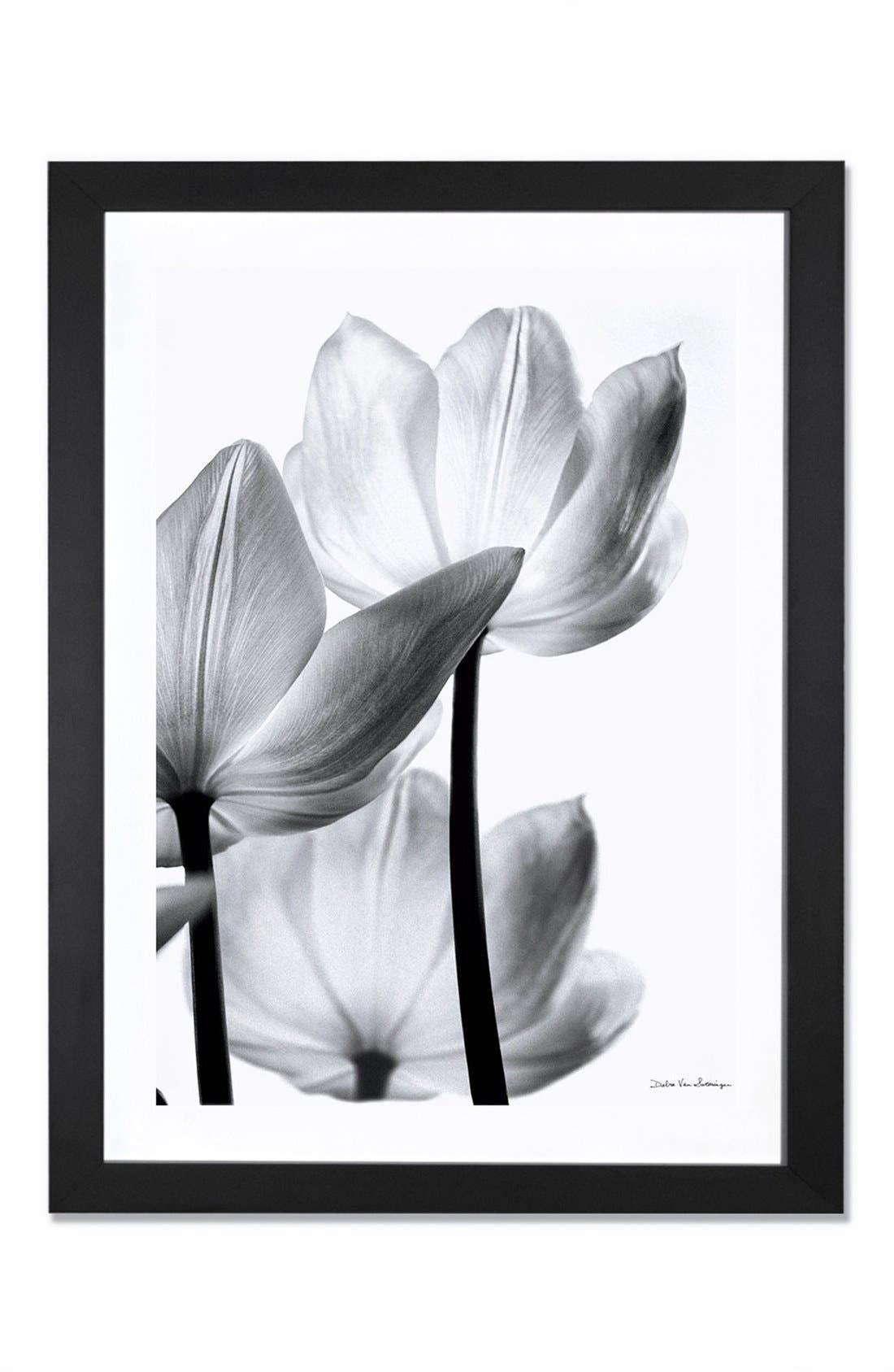 'Translucent Tulip' Giclée Print Framed Canvas Art,                         Main,                         color, GREY