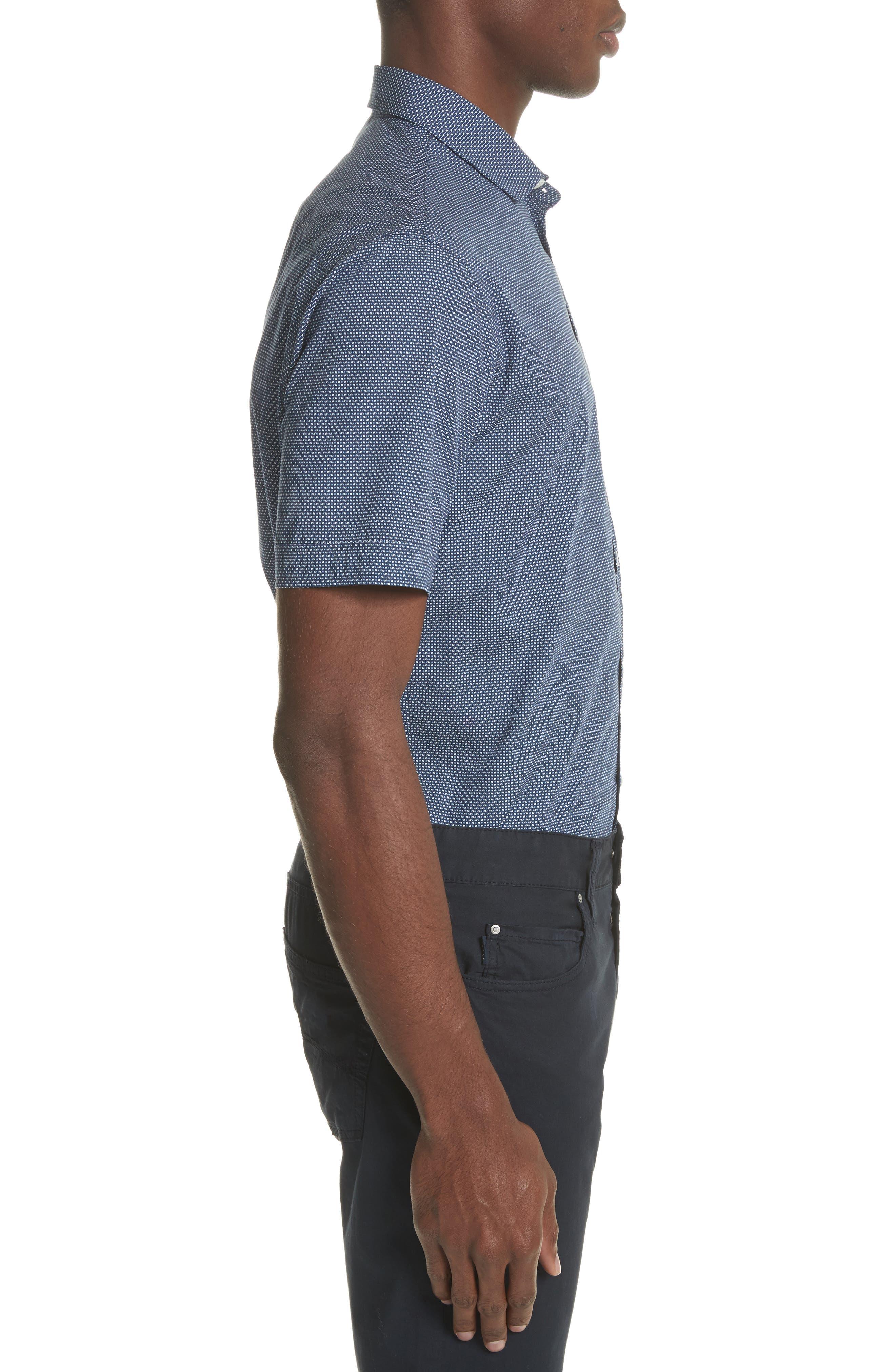Regular Fit Geometric Print Sport Shirt,                             Alternate thumbnail 3, color,