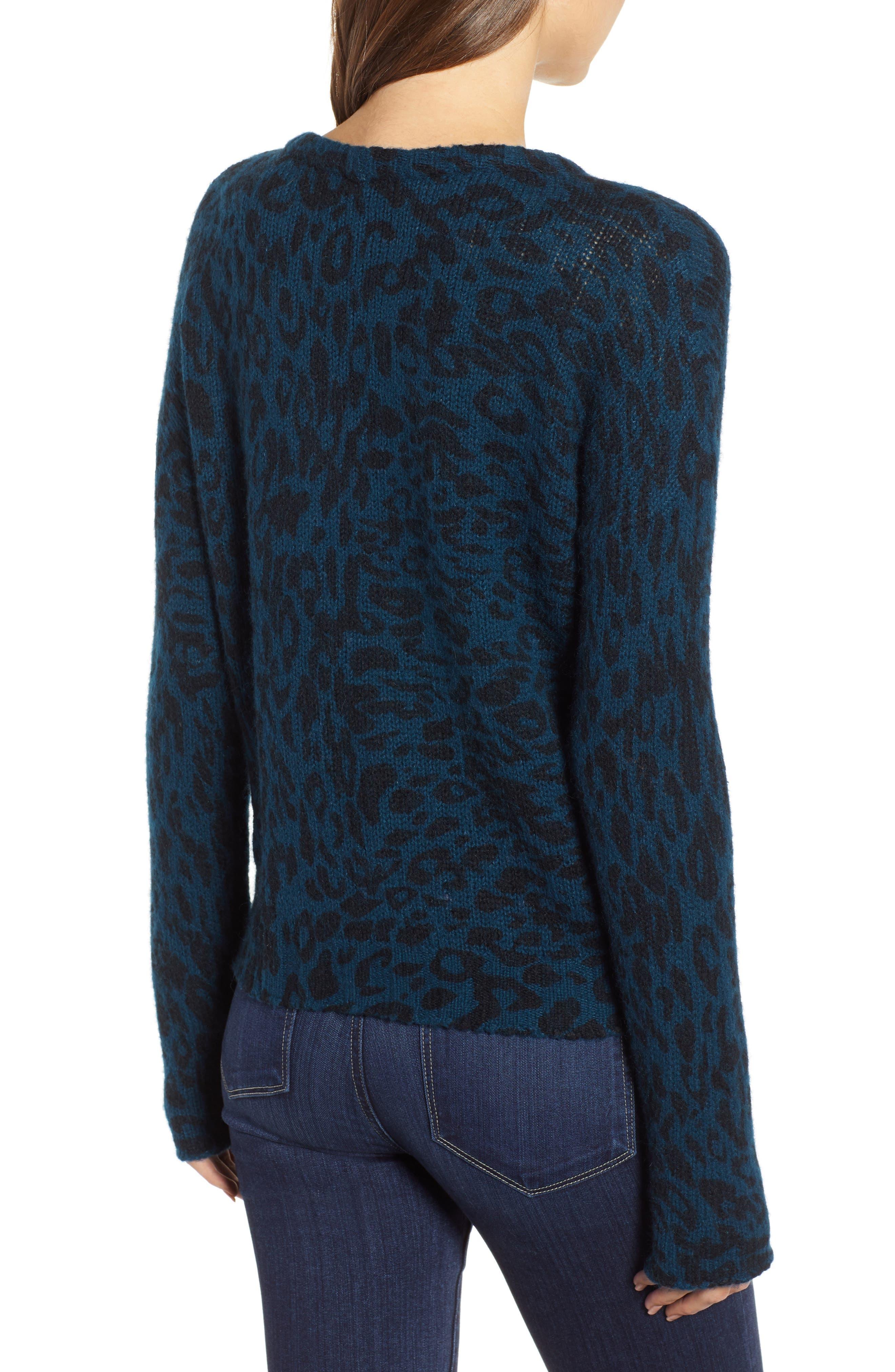 Donovan Animal Print Sweater,                             Alternate thumbnail 2, color,                             BLUE LEOPARD