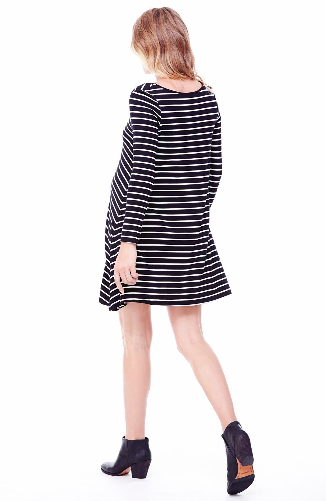Striped Maternity Trapeze Dress,                             Alternate thumbnail 2, color,                             011