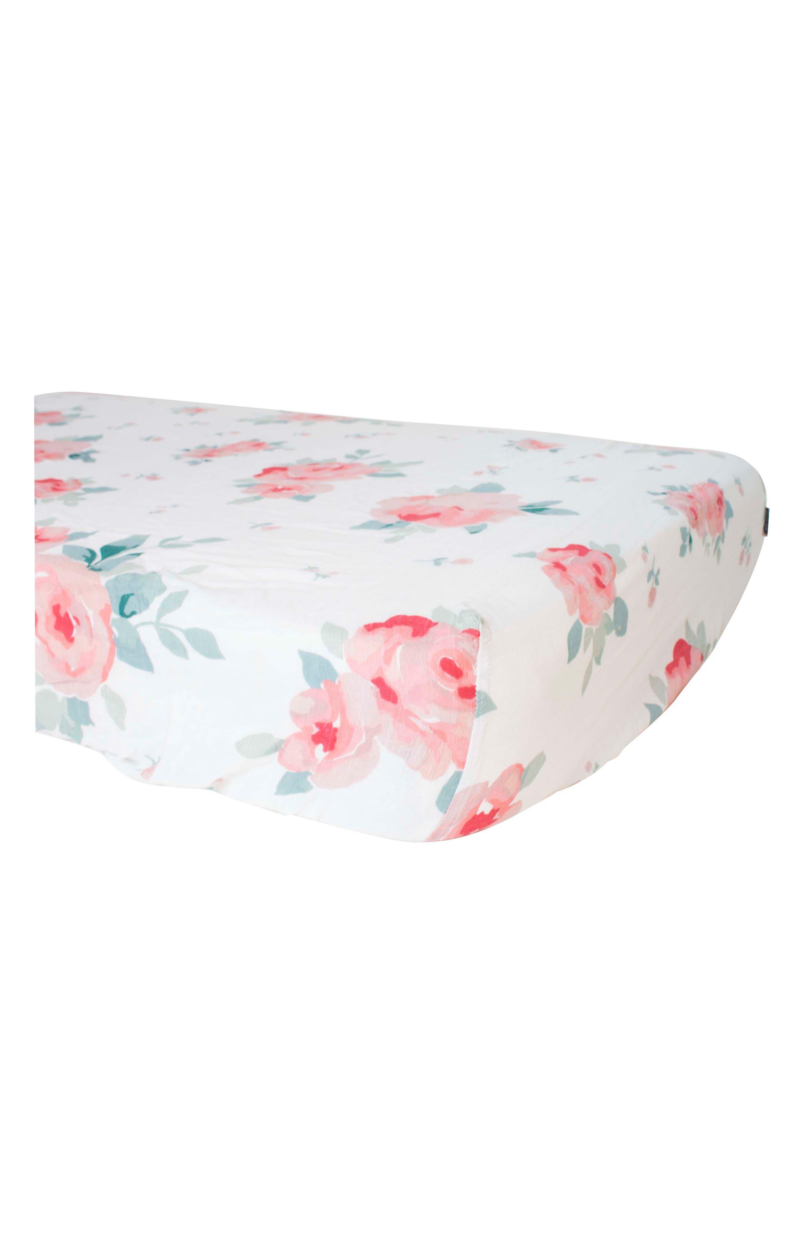 Oh So Soft Muslin Crib Sheet,                             Main thumbnail 1, color,                             ROSY