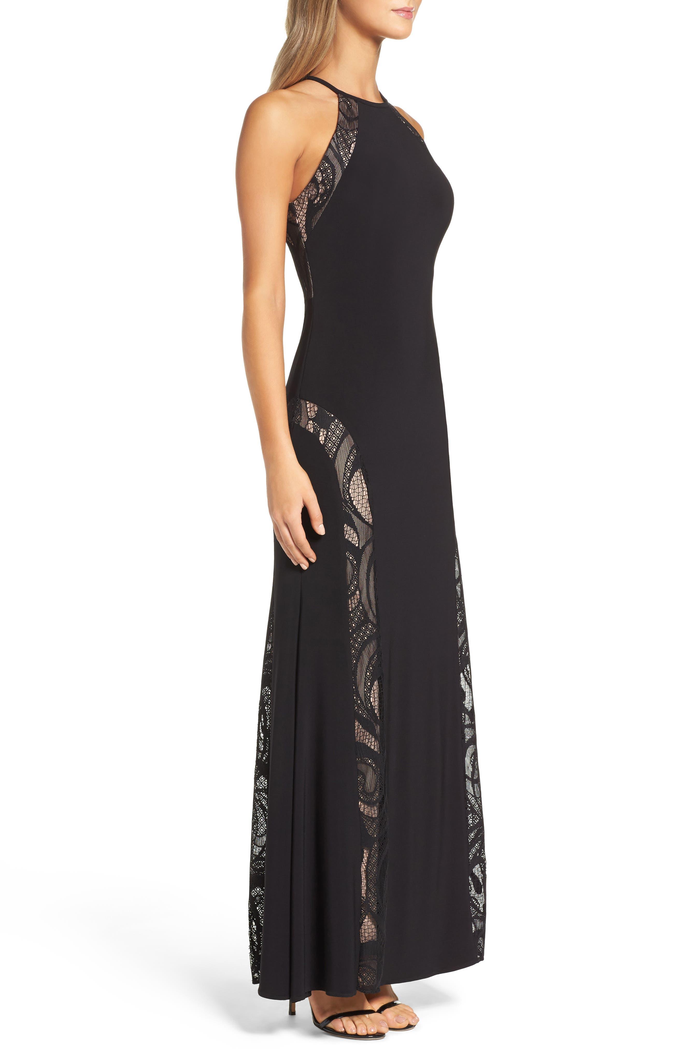 A-Line Gown,                             Alternate thumbnail 3, color,                             BLACK