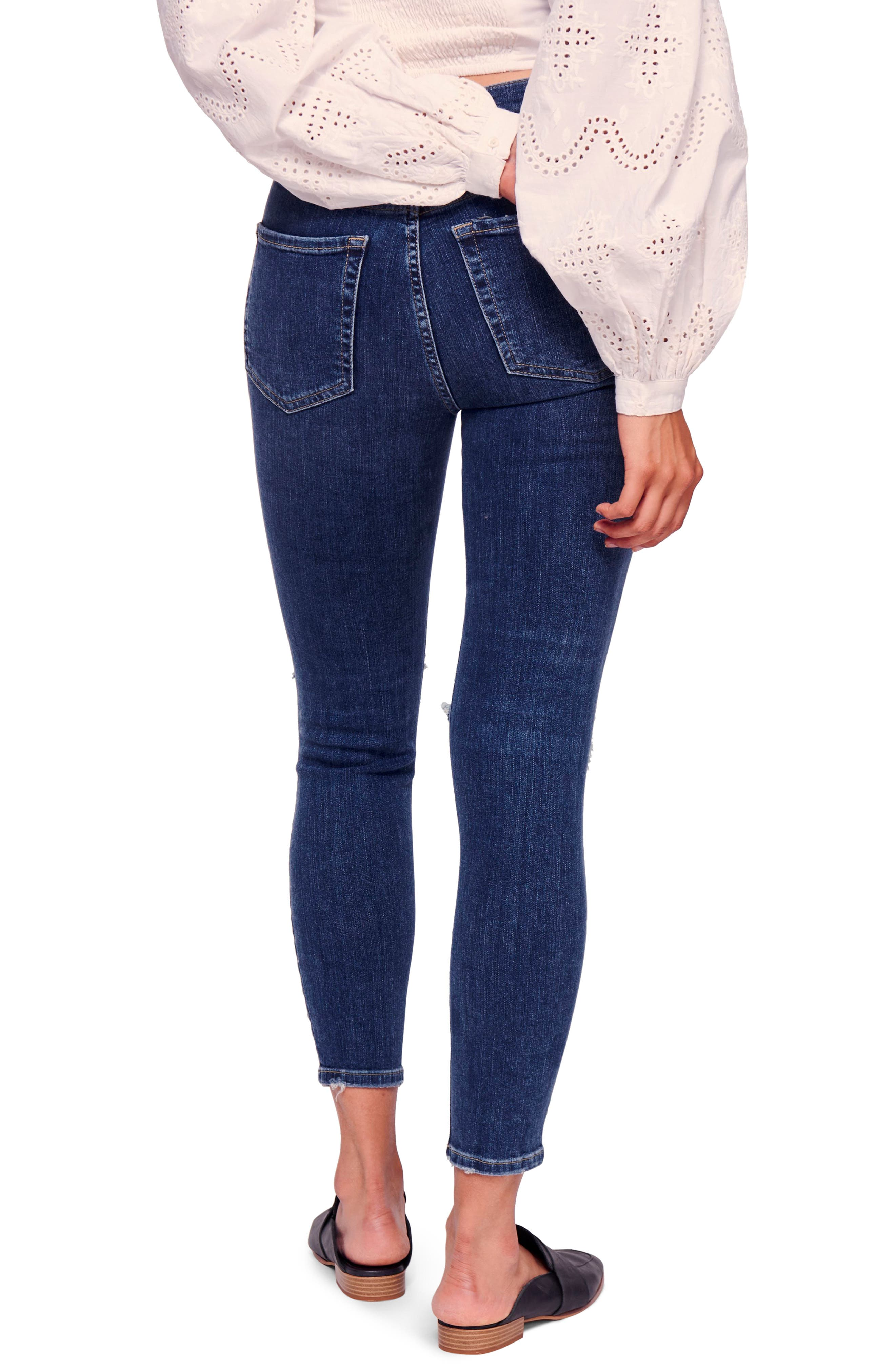 We the Free by Free People Ripped High Waist Ankle Skinny Jeans,                             Alternate thumbnail 2, color,                             400