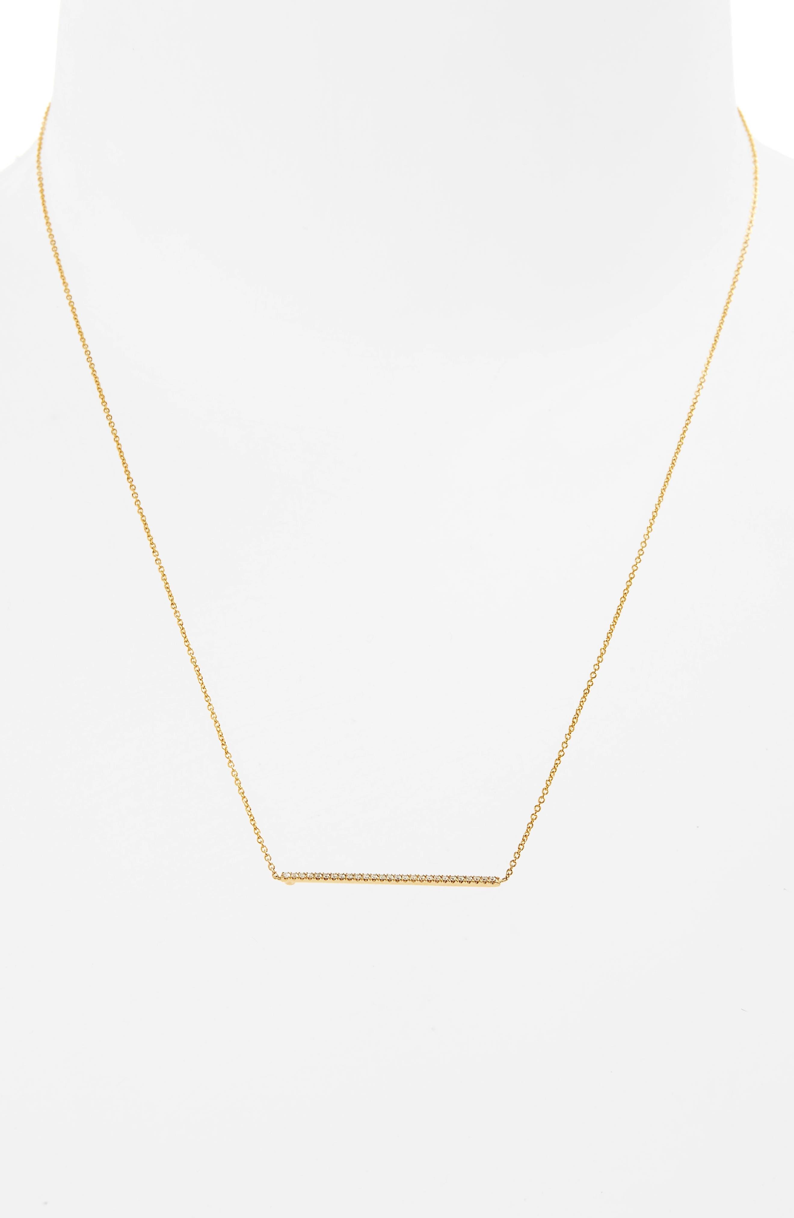 Tiny Treasures Diamond Bar Necklace,                             Alternate thumbnail 3, color,