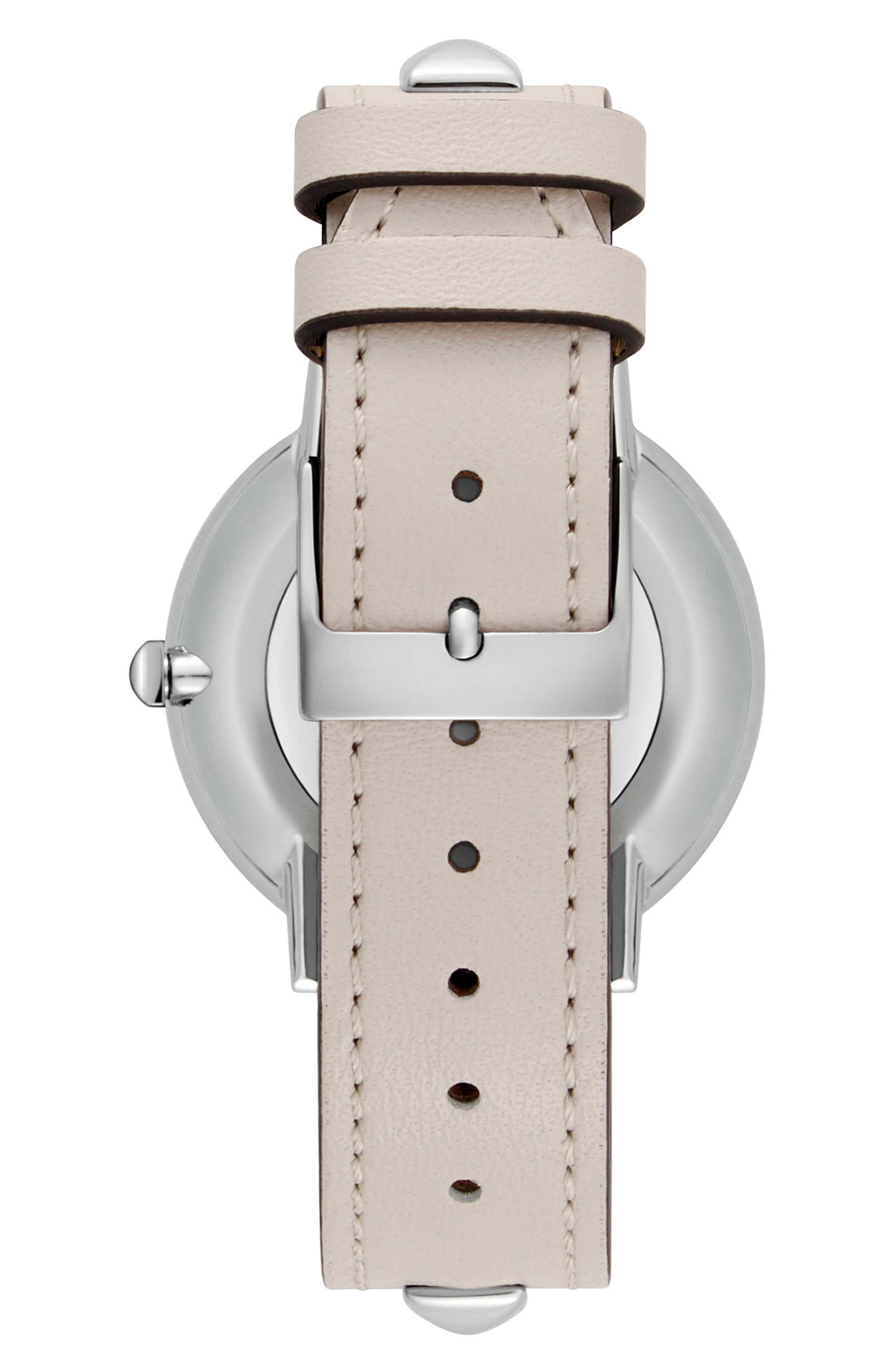 Major Stud Leather Strap Watch, 35mm,                             Alternate thumbnail 2, color,                             GREY/ SILVER