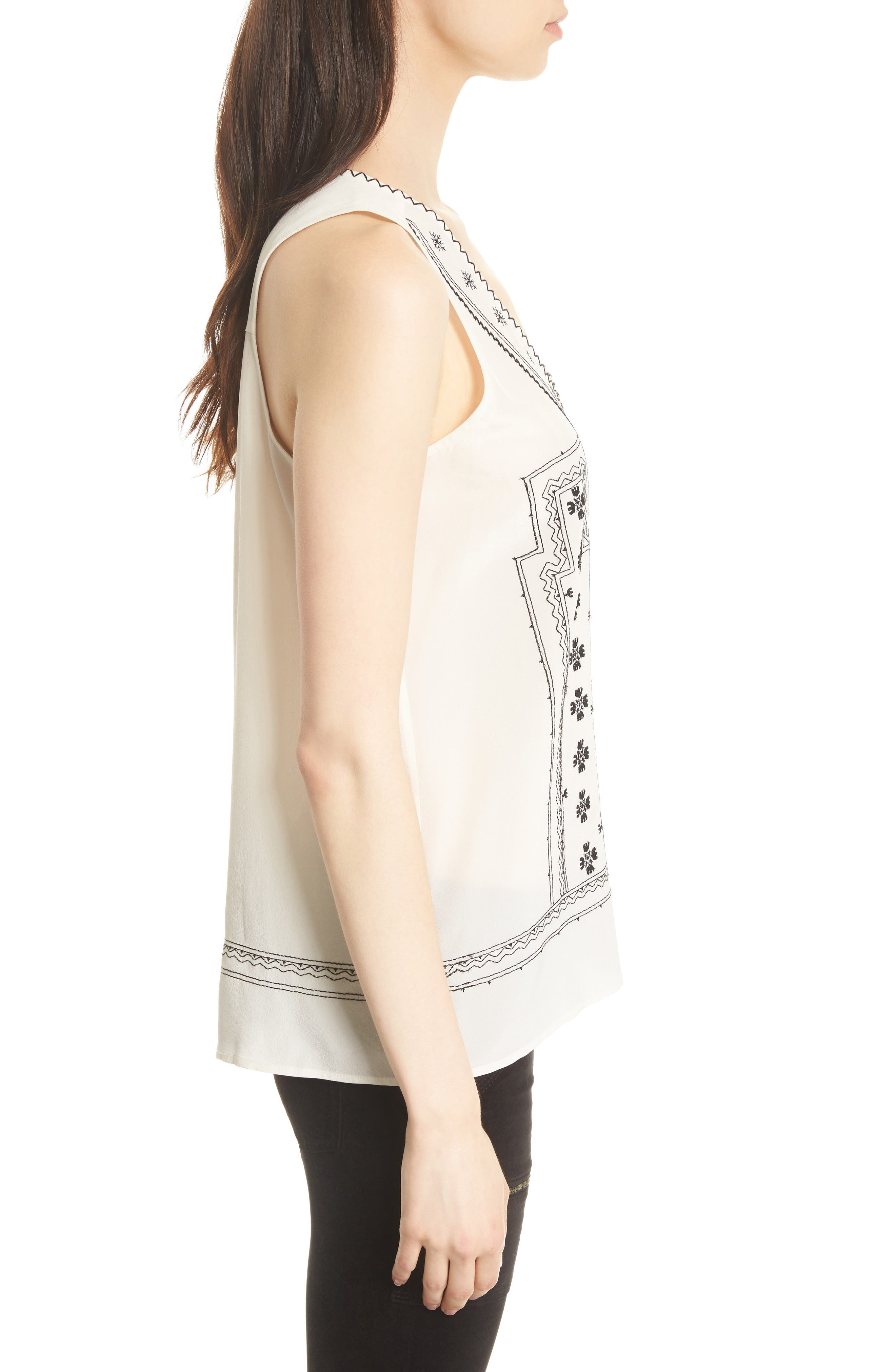 Merles Embroidered Silk Top,                             Alternate thumbnail 3, color,                             123