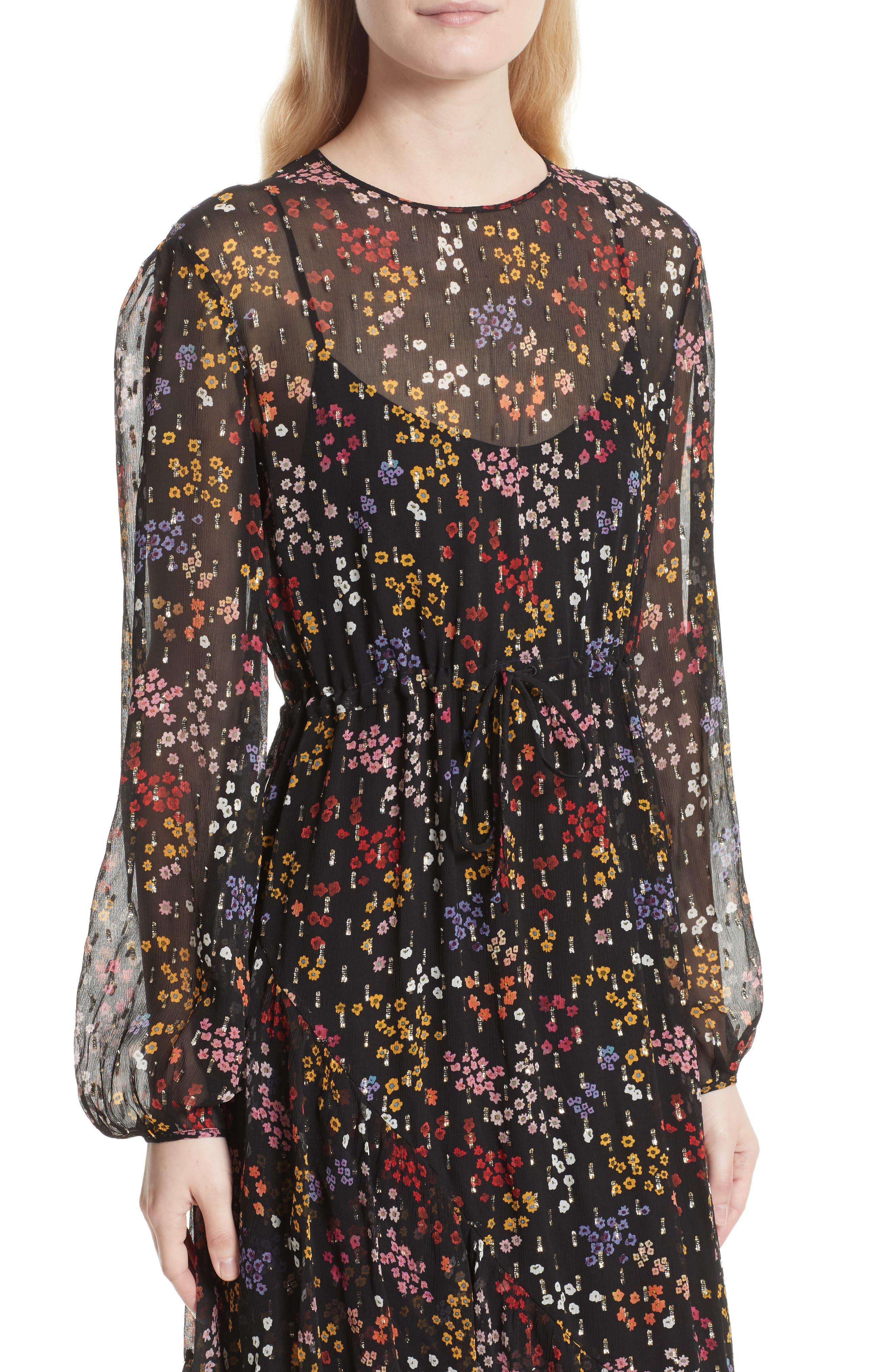 Floral Print Metallic Silk Midi Dress,                             Alternate thumbnail 4, color,                             001
