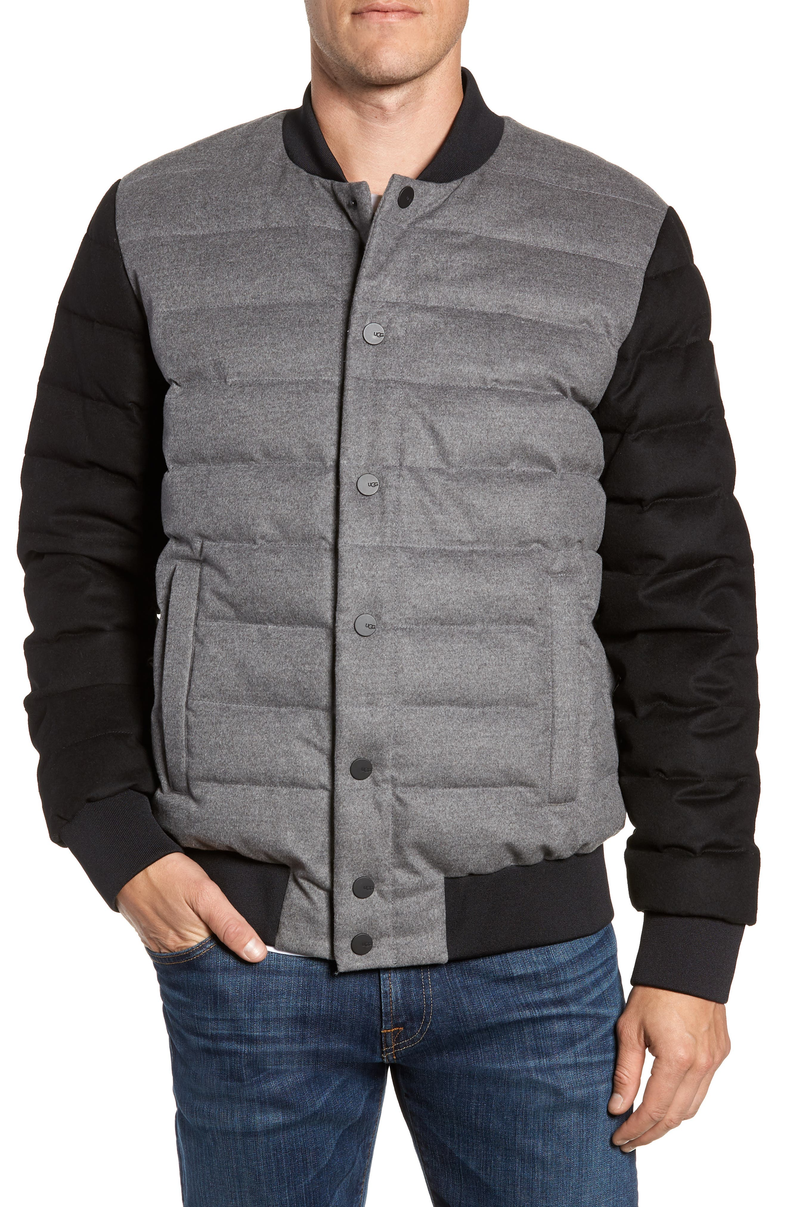 Gavin Down Bomber Jacket,                         Main,                         color, MEDIUM HEATHER GREY/ BLACK