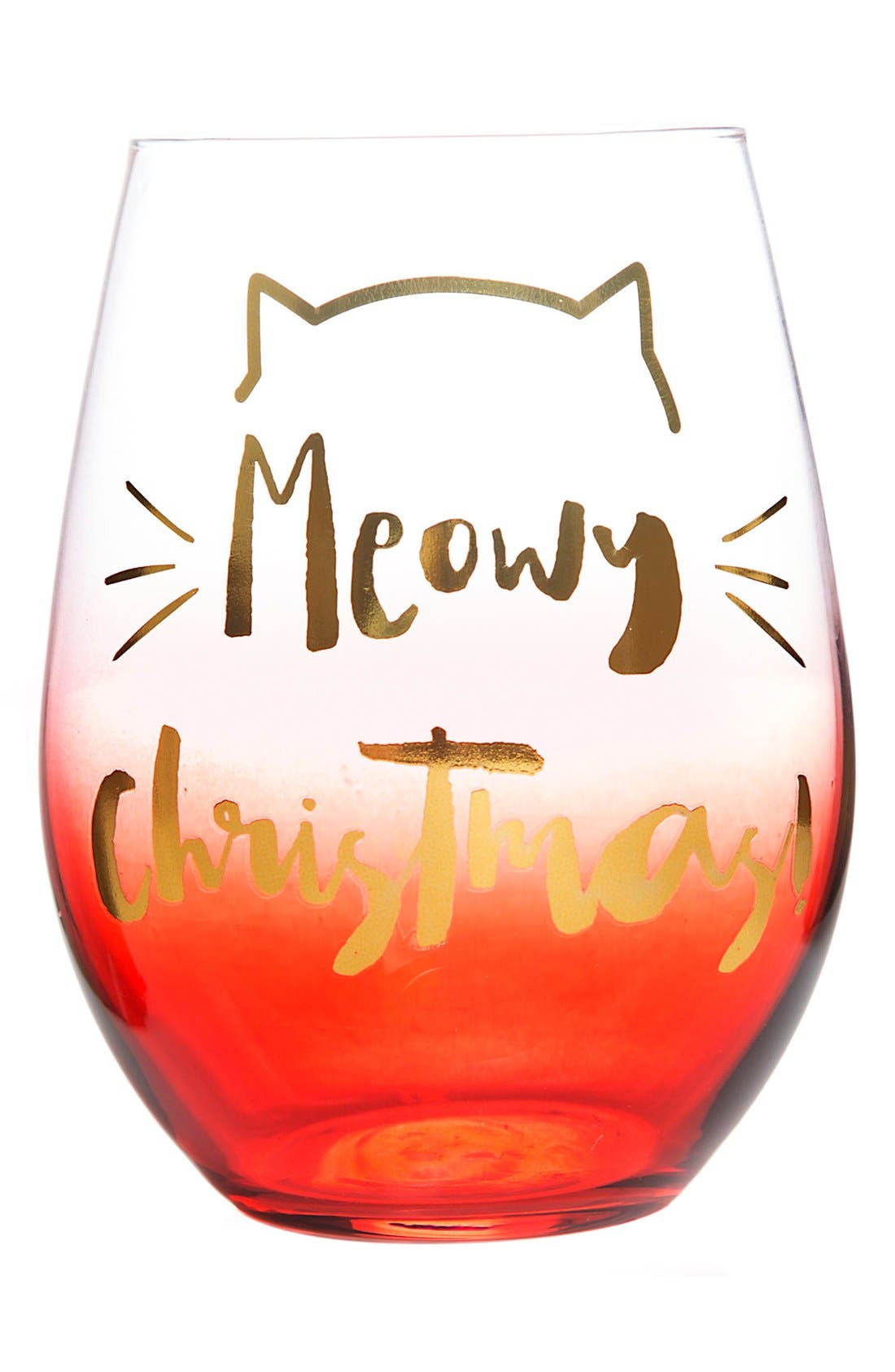 SLANT COLLECTIONS 'Meowy Christmas' Stemless Wine Glass, Main, color, 650