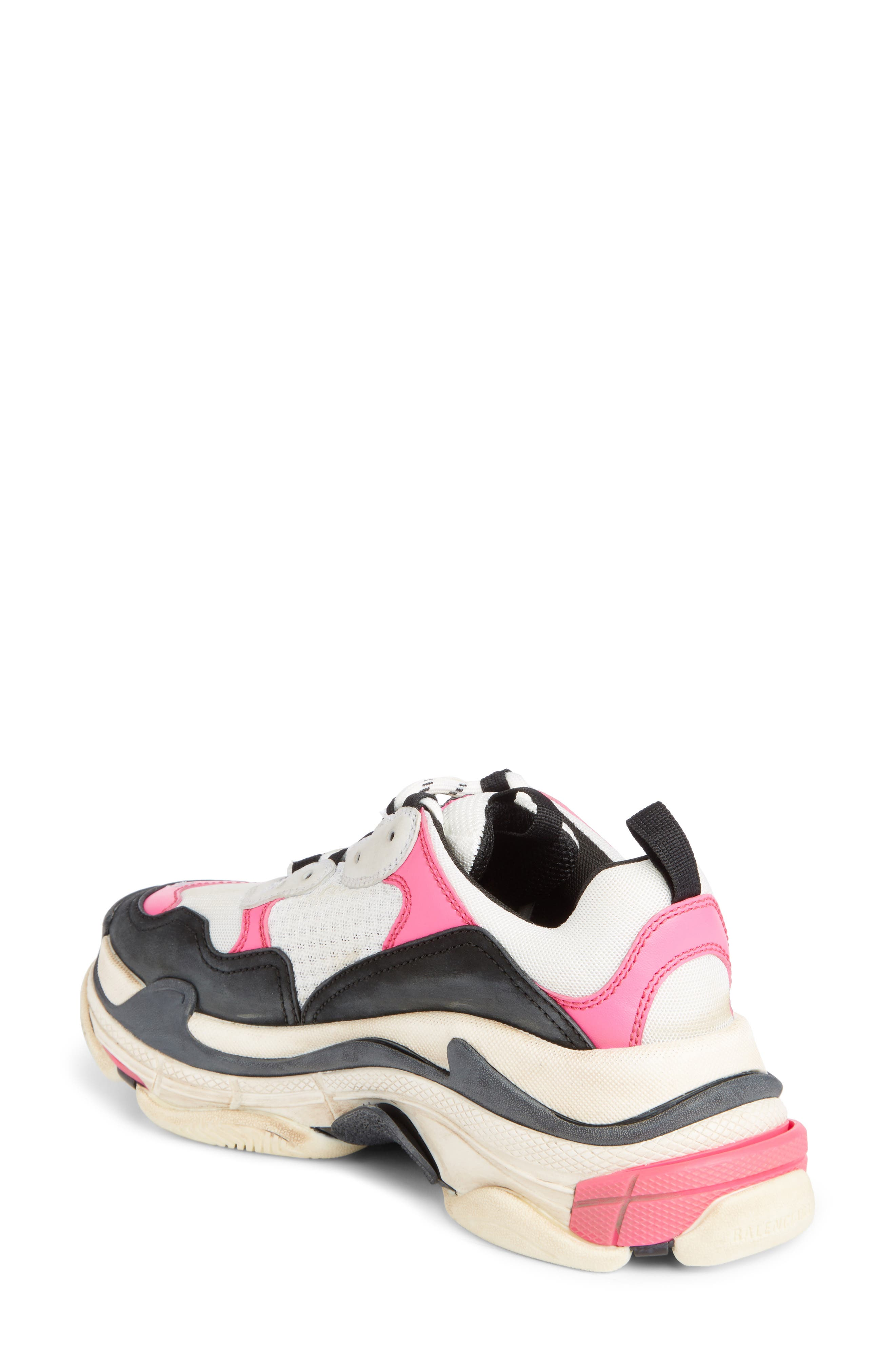 Triple S Low Top Sneaker,                             Alternate thumbnail 2, color,                             ROSE FLUO/ BLACK/ WHITE