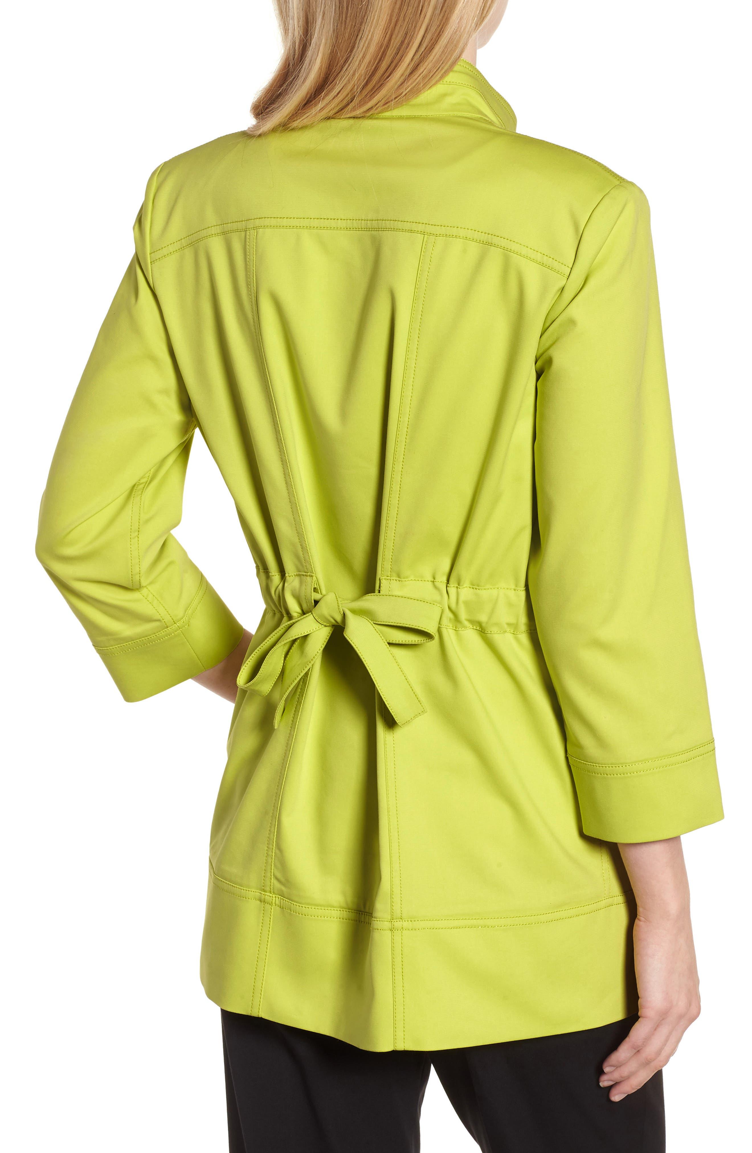 Tie Back Stretch Cotton Jacket,                             Alternate thumbnail 2, color,                             PEAR/ BLACK/ WHITE