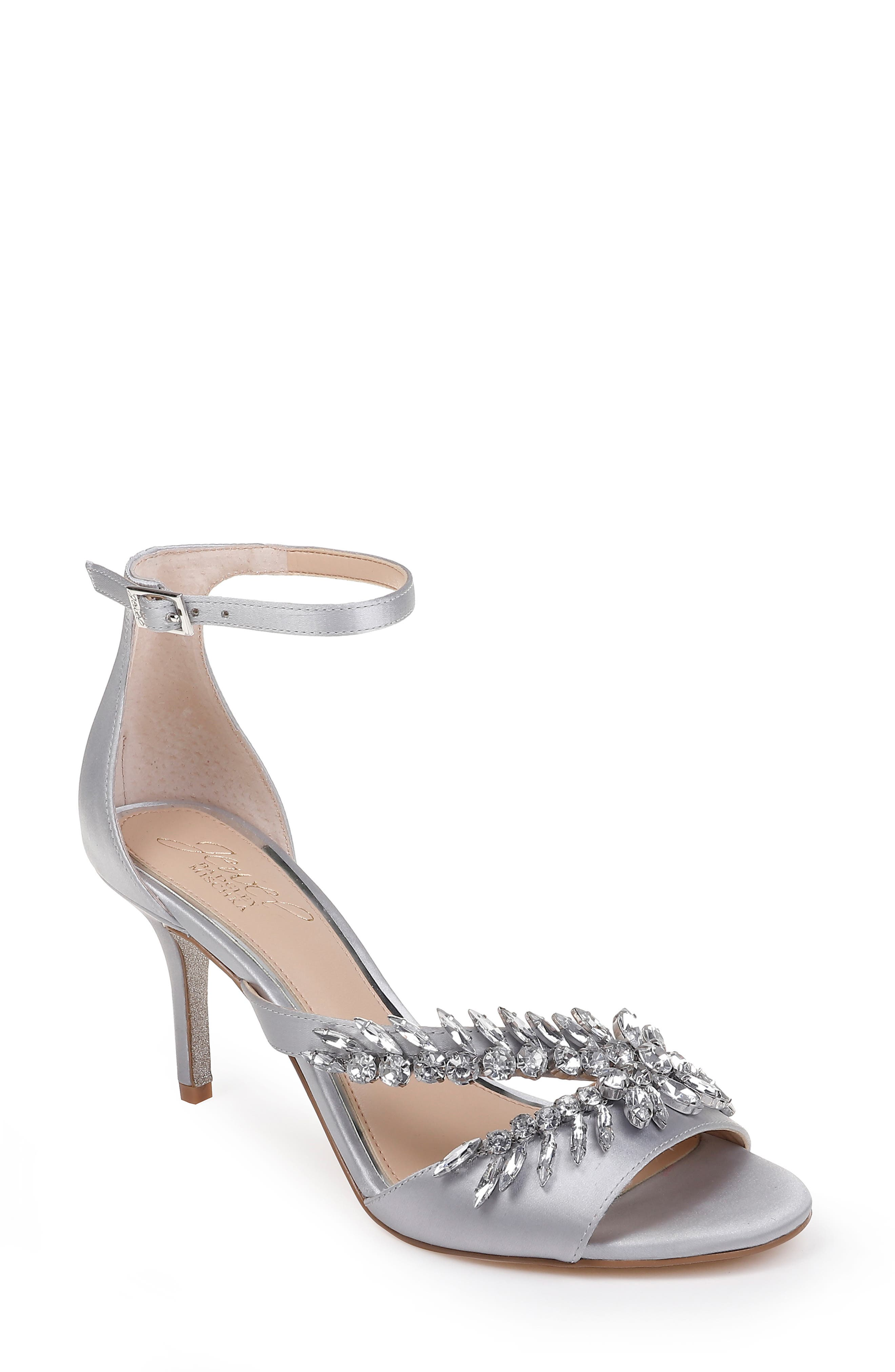 Kailee Embellished Ankle Strap Sandal,                             Main thumbnail 1, color,                             SILVER CRYSTAL SATIN