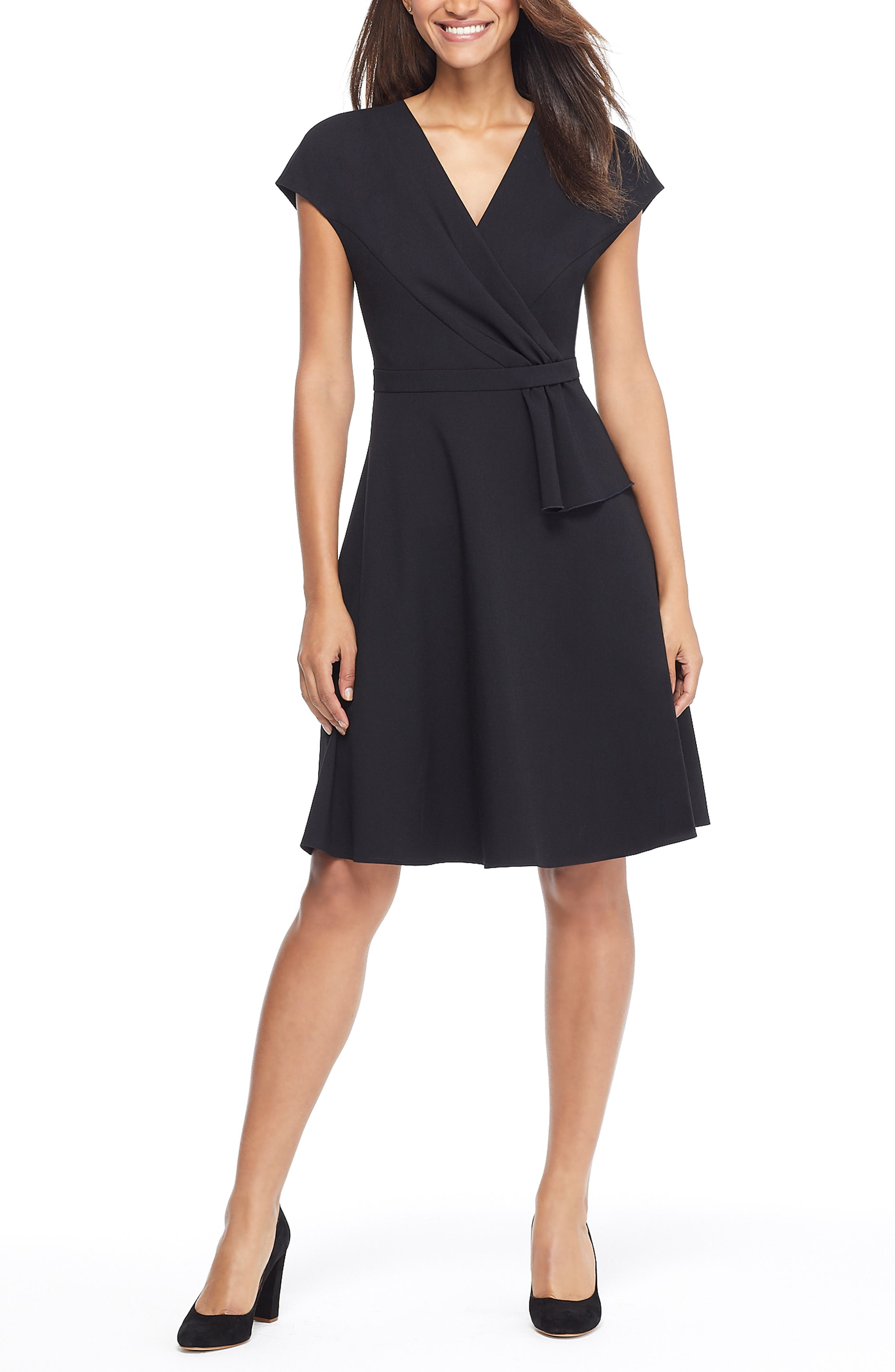 Gal Meets Glam Collection Lydia Double Face Twist Dress, Black