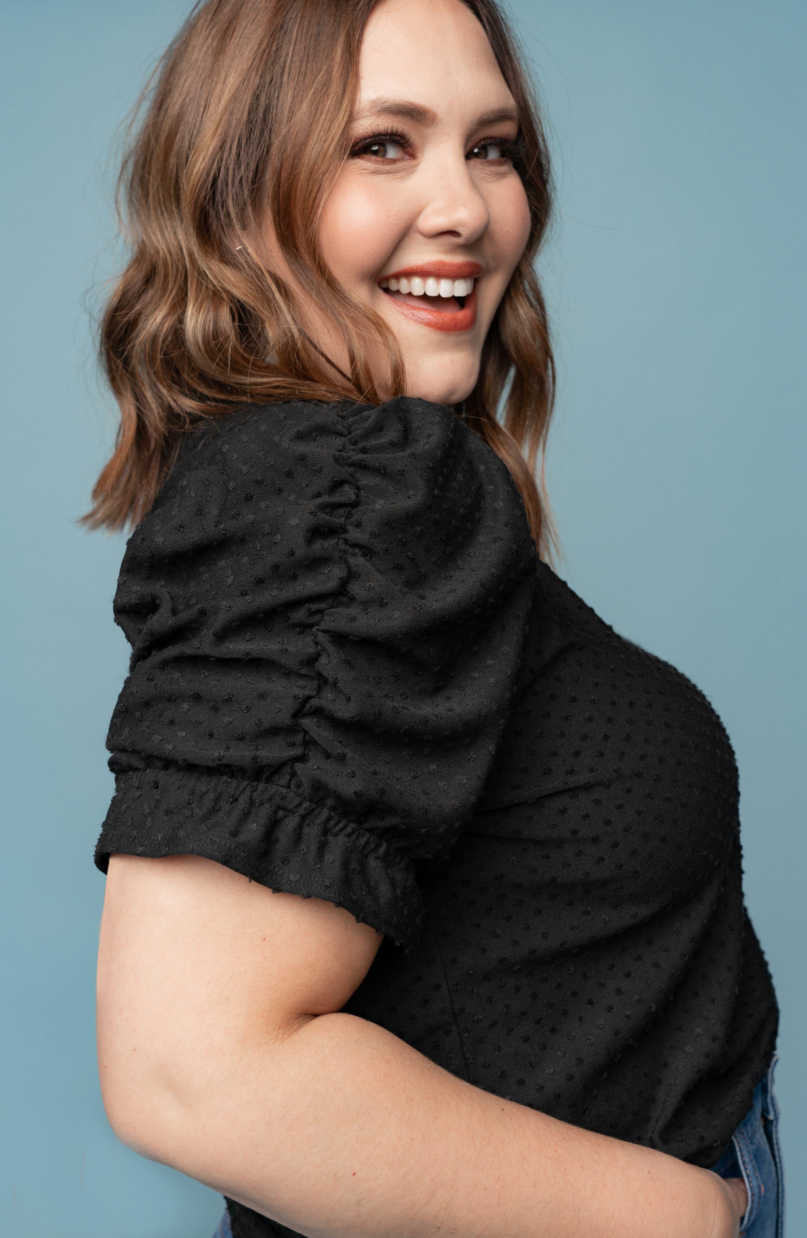 GIBSON,                             x International Women's Day Rebecca Clip Dot Ruffle Sleeve Blouse,                             Alternate thumbnail 8, color,                             CHARCOAL