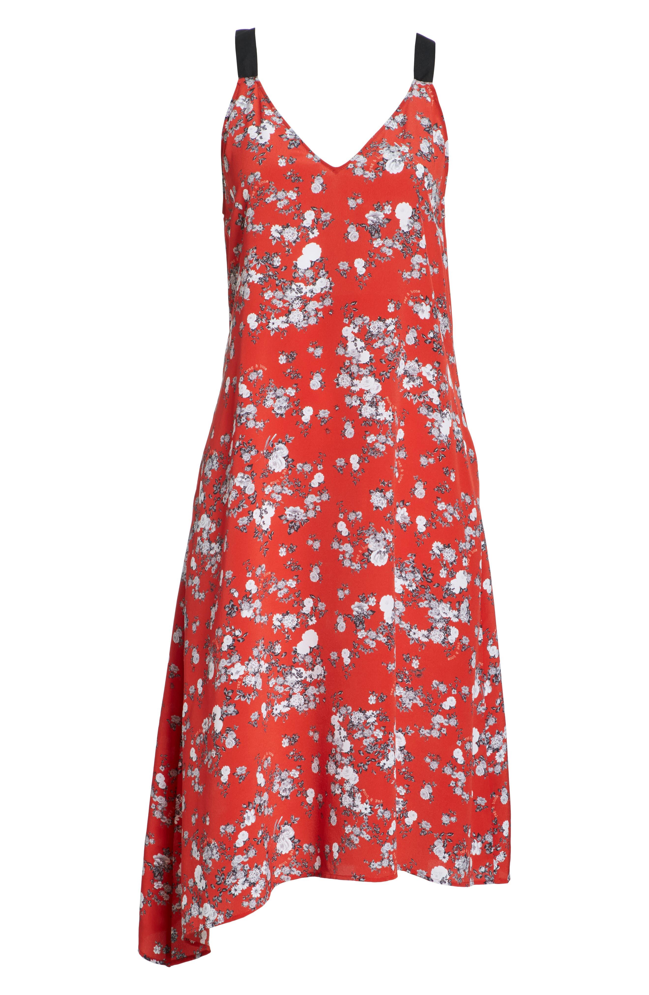 Zoe Floral Print Silk Dress,                             Alternate thumbnail 6, color,                             RED GARDEN FLORAL