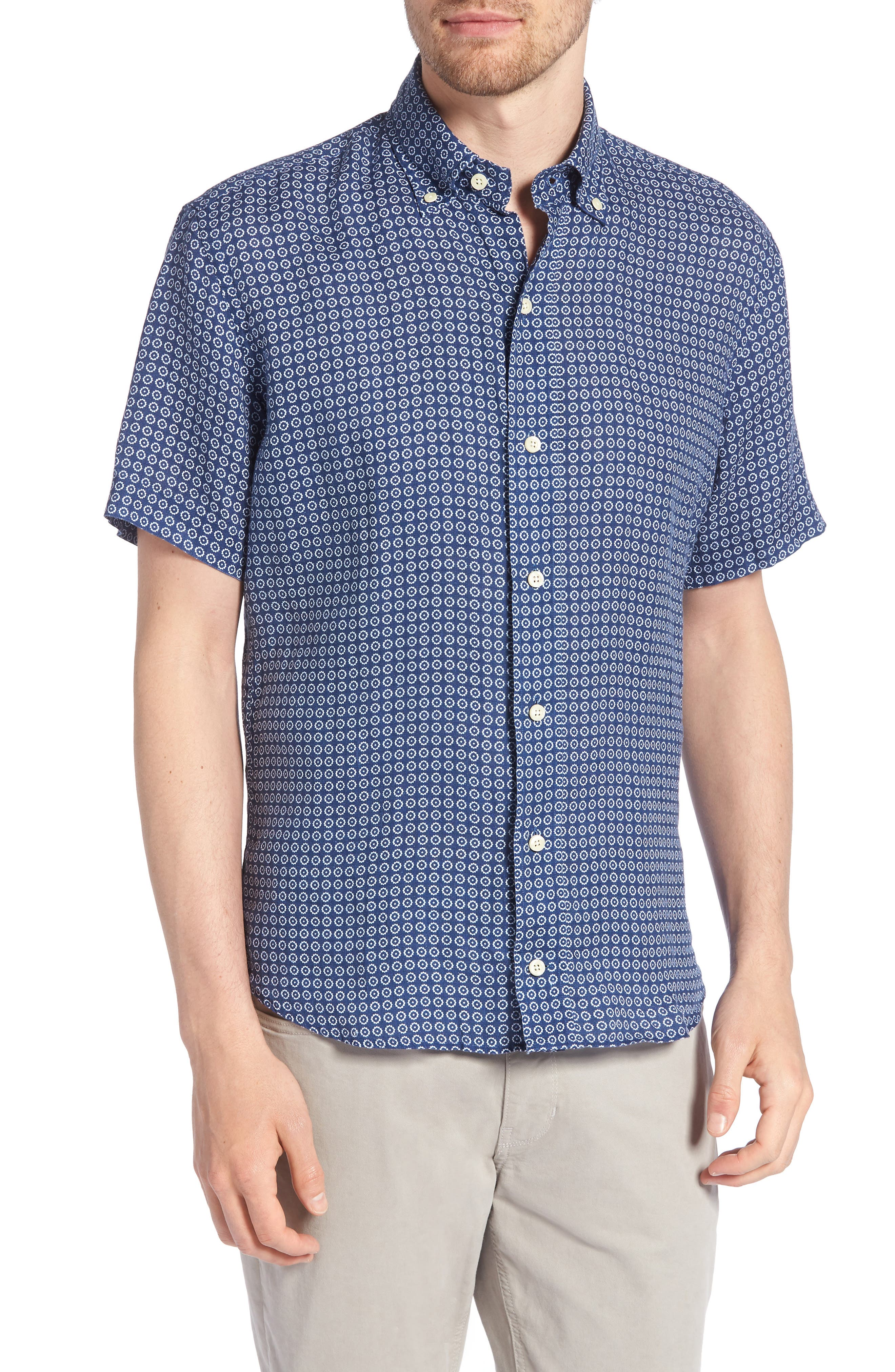 Windham Print Slim Fit Linen Sport Shirt,                         Main,                         color, NAVY