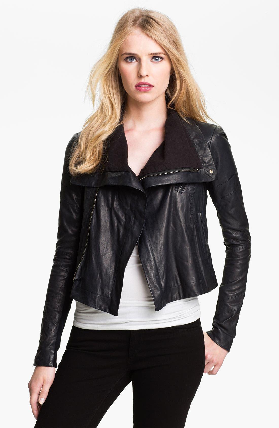 'Max' Seamed Leather Moto Jacket,                             Main thumbnail 1, color,                             401