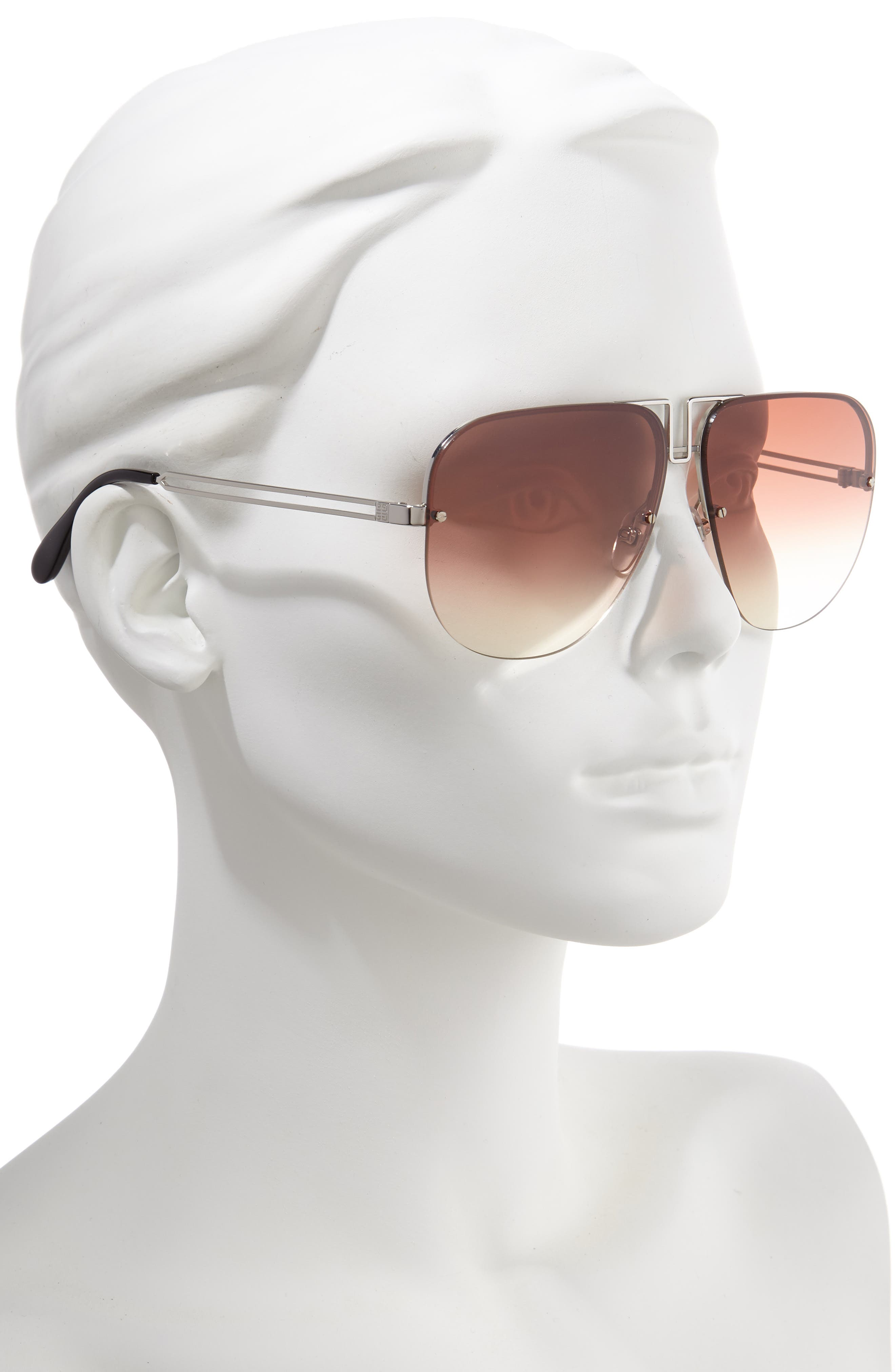 GIVENCHY,                             64mm Oversize Aviator Sunglasses,                             Alternate thumbnail 2, color,                             PALLADIUM/ COPPER