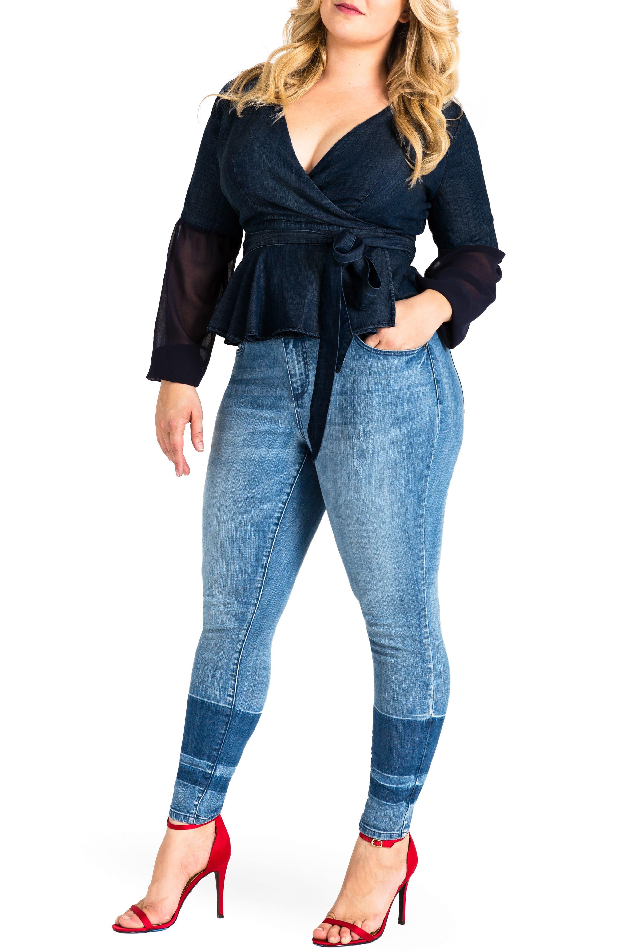 Virginia Ankle Skinny Jeans,                             Alternate thumbnail 4, color,                             MEDIUM BLUE