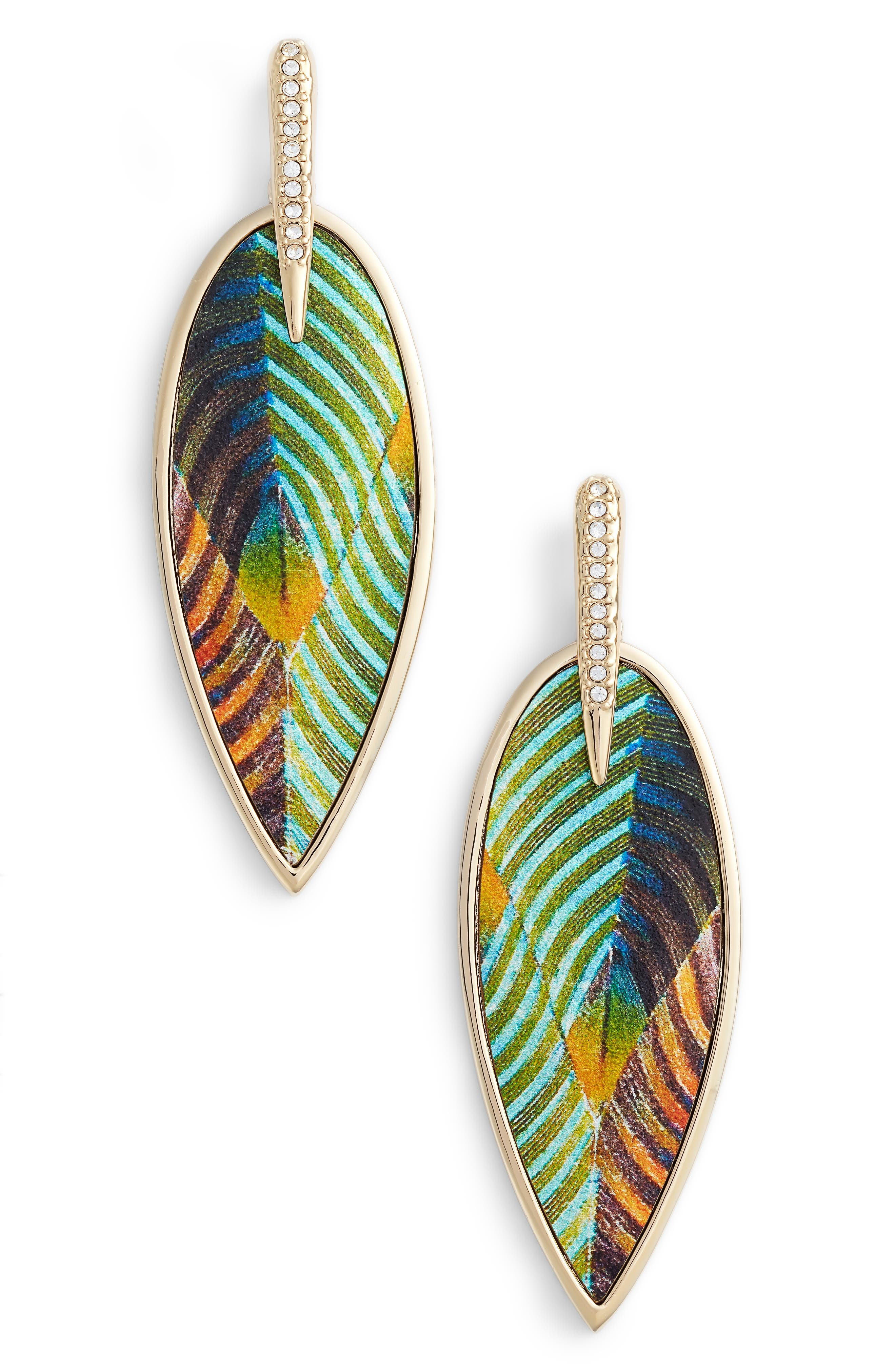 Inlaid Leather Statement Earrings,                             Main thumbnail 2, color,