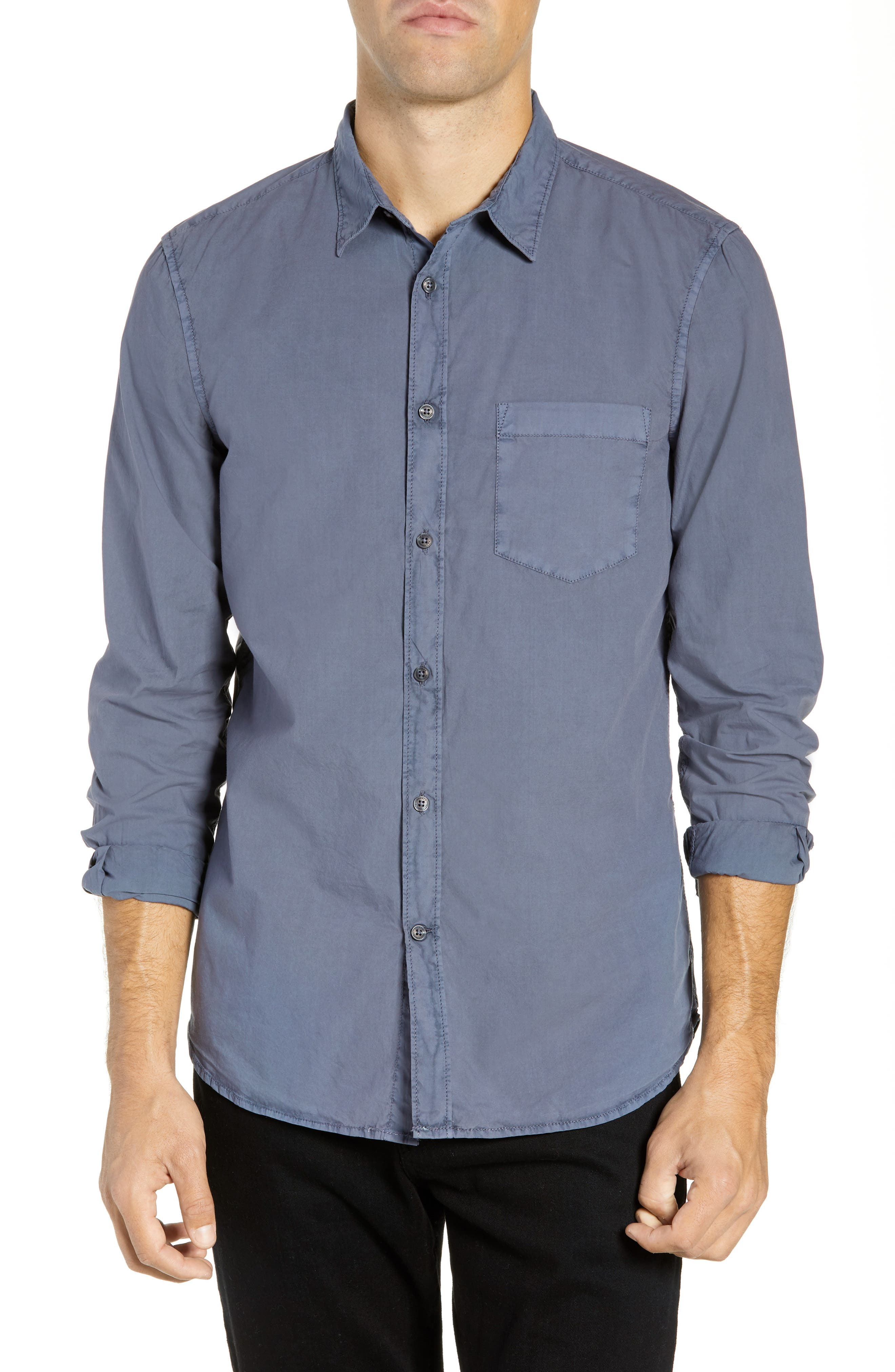 French Connection Overdyed Regular Fit Poplin Sport Shirt, Blue