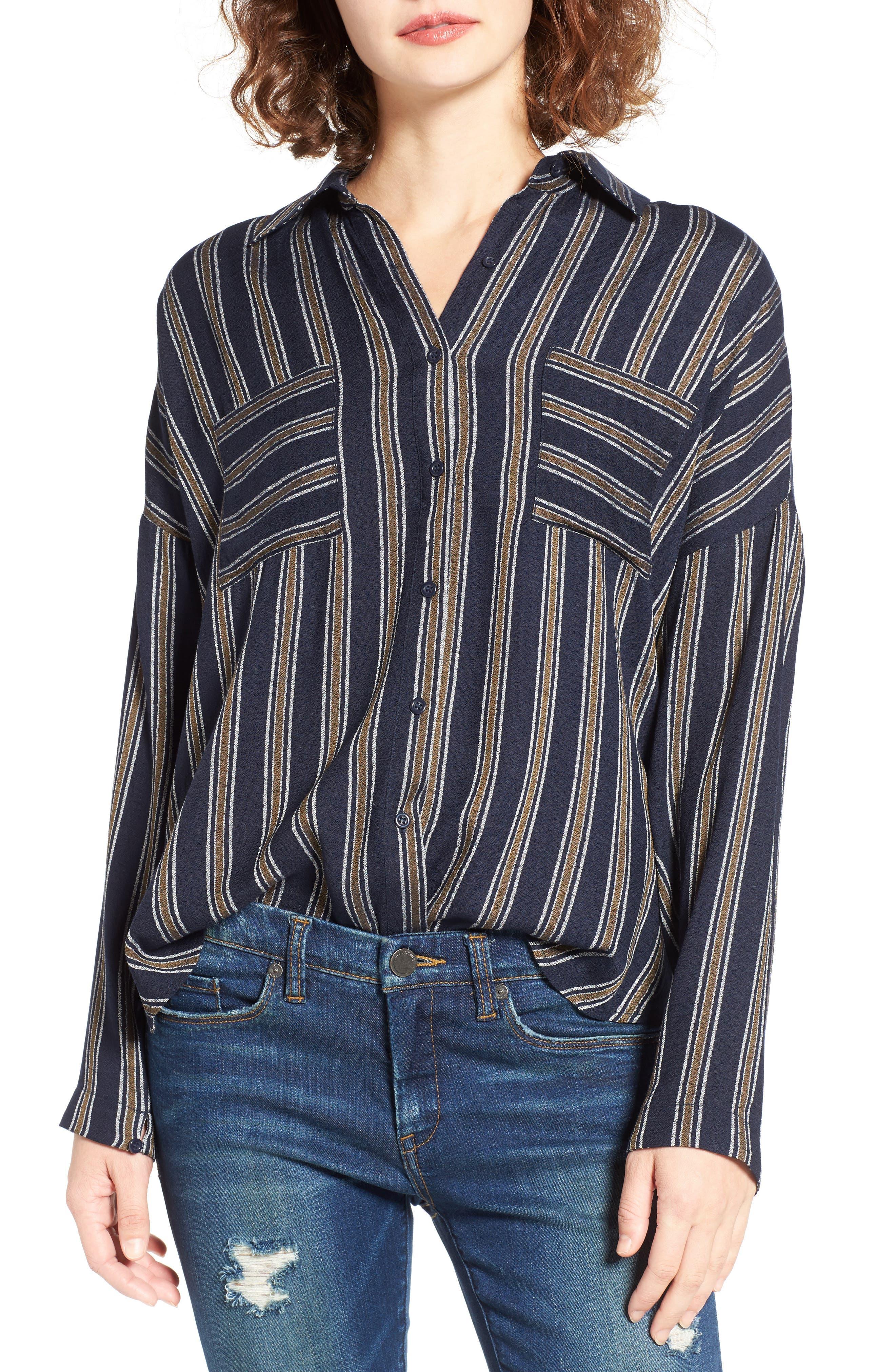 BP. Stripe Button Front Shirt, Main, color, 410