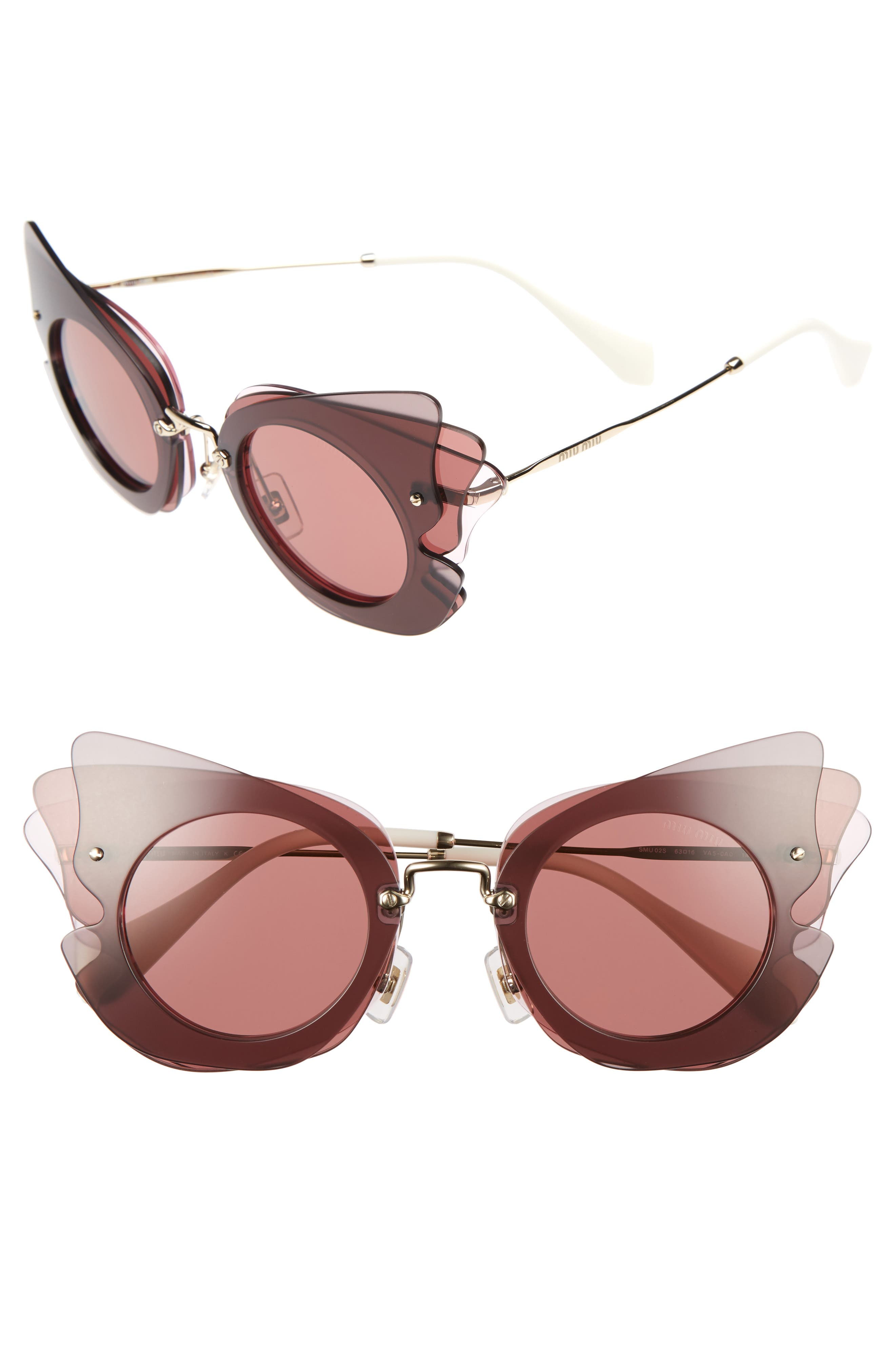 63mm Layered Butterfly Sunglasses,                             Main thumbnail 2, color,