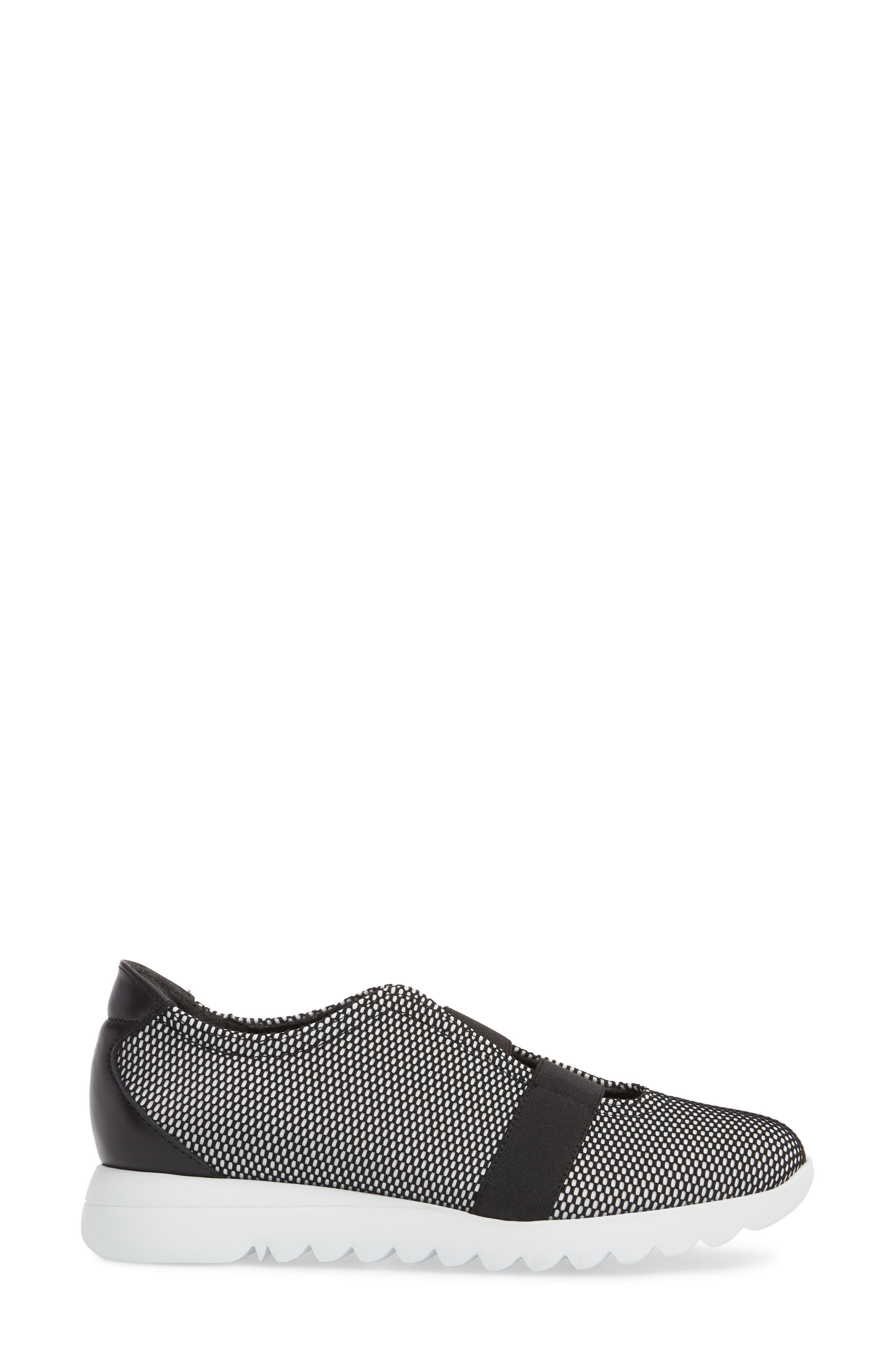 Alta Slip-On Sneaker,                             Alternate thumbnail 3, color,                             BLACK/ WHITE FABRIC