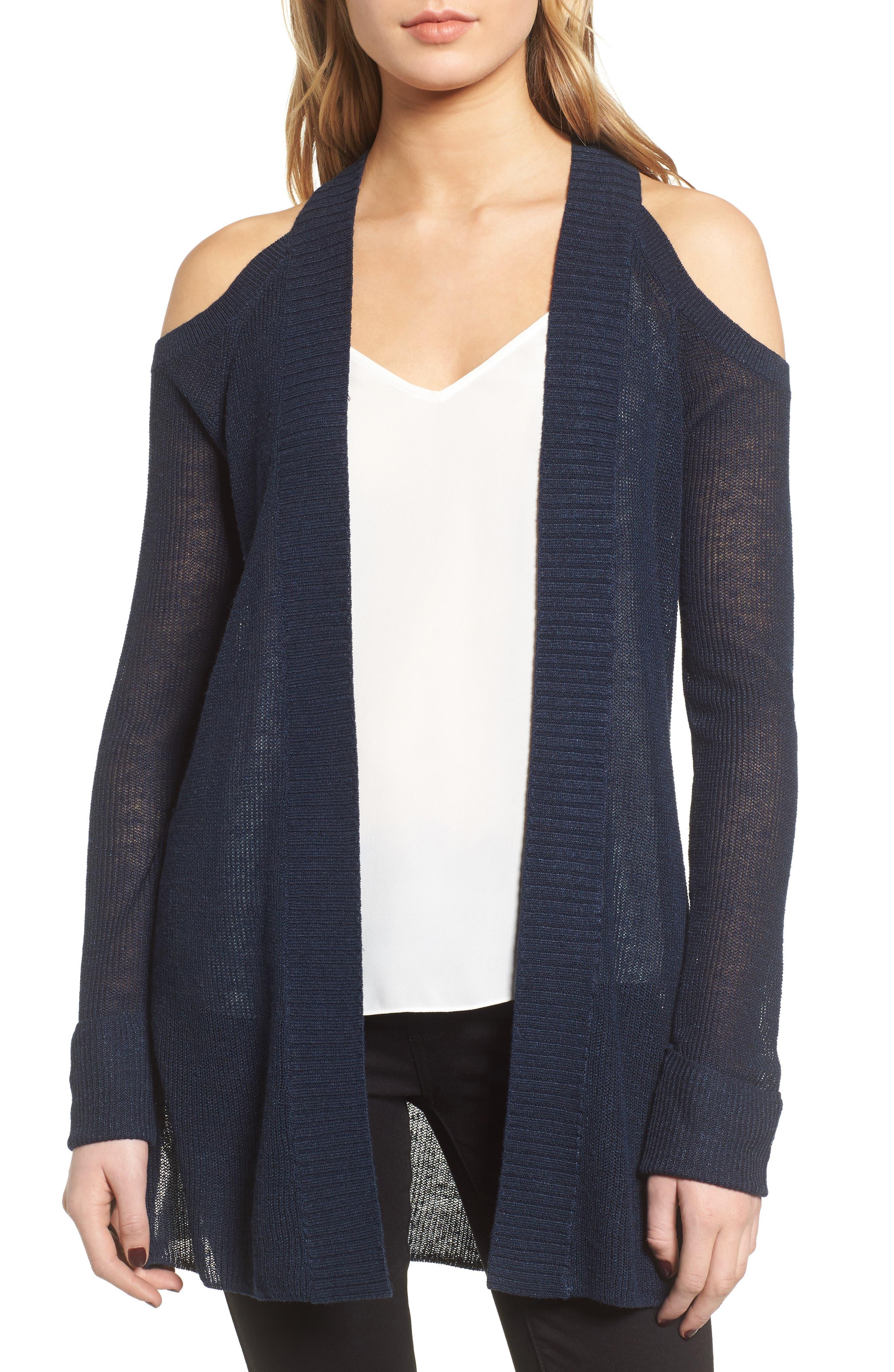 Cold Shoulder Cardigan, Main, color, 410