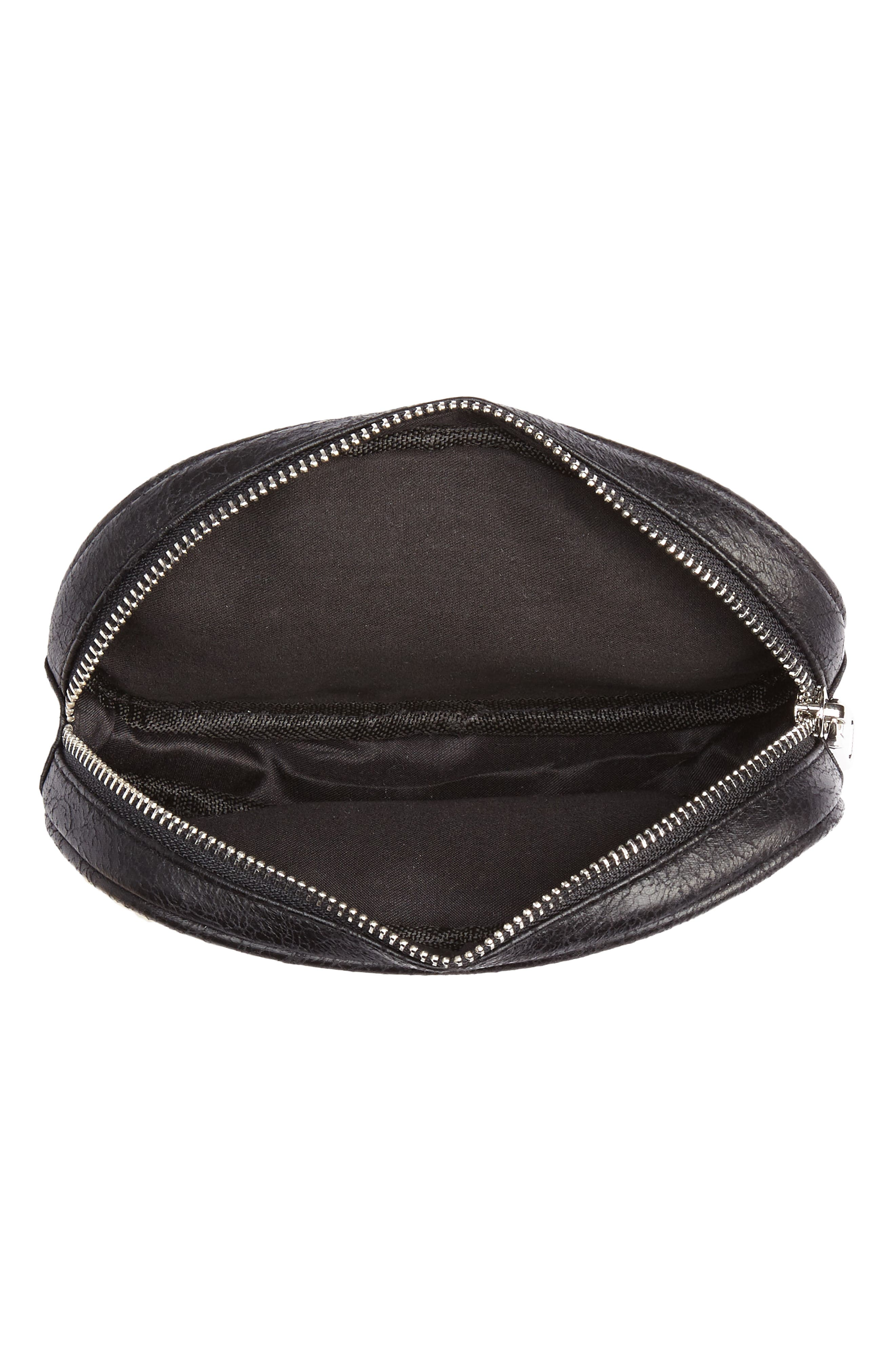 Faux Shearling Belt Bag,                             Alternate thumbnail 5, color,                             BLACK/ NATURAL