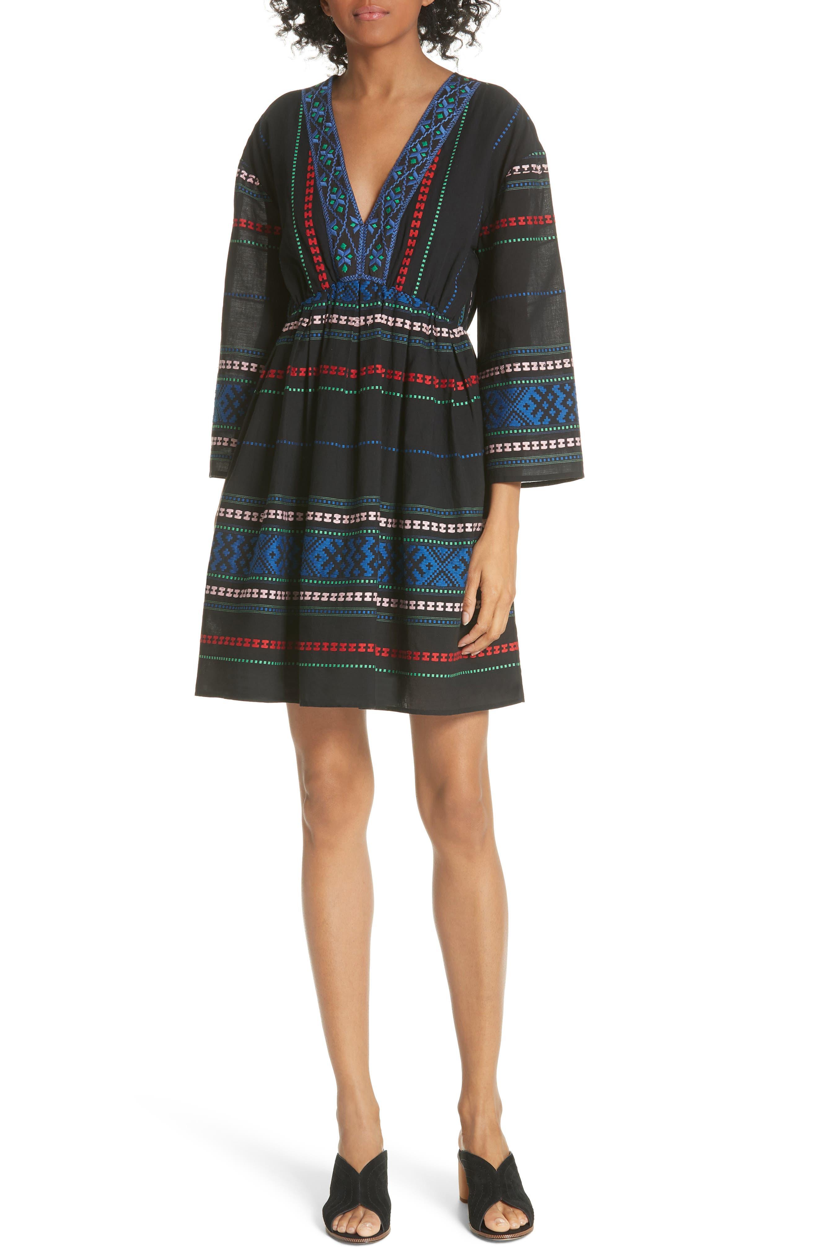 Sada Embroidered Minidress,                         Main,                         color, 002