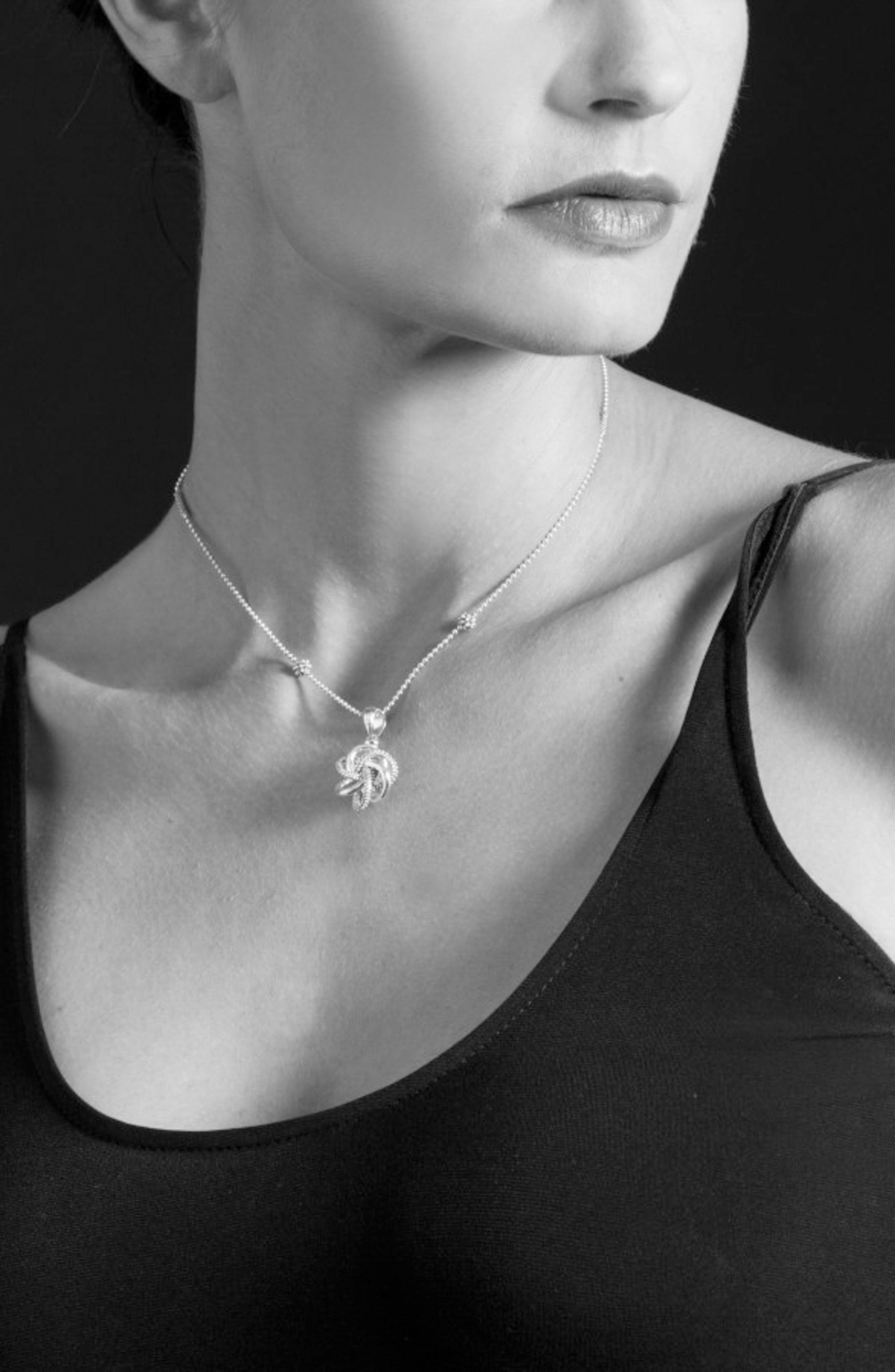'Love Knot' Pendant Necklace,                             Alternate thumbnail 2, color,                             STERLING SILVER